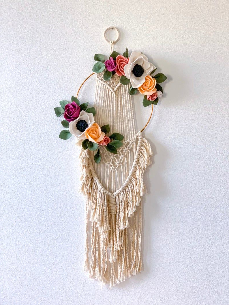 Boho Macrame Hoop Wall Hanging With Handmade Felt Flowers Regarding Most Up To Date Blended Fabric Fruity Bouquets Wall Hangings (View 3 of 20)
