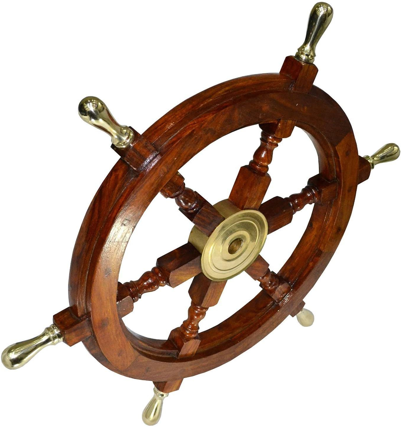 """Brown/brass Wood Ship Wheel Wall Décor Intended For Well Liked Vintage Armour Store Ship Wheel Wooden 24"""" Ship Wheel Nautical Boat Pirate Home Decor (View 2 of 20)"""