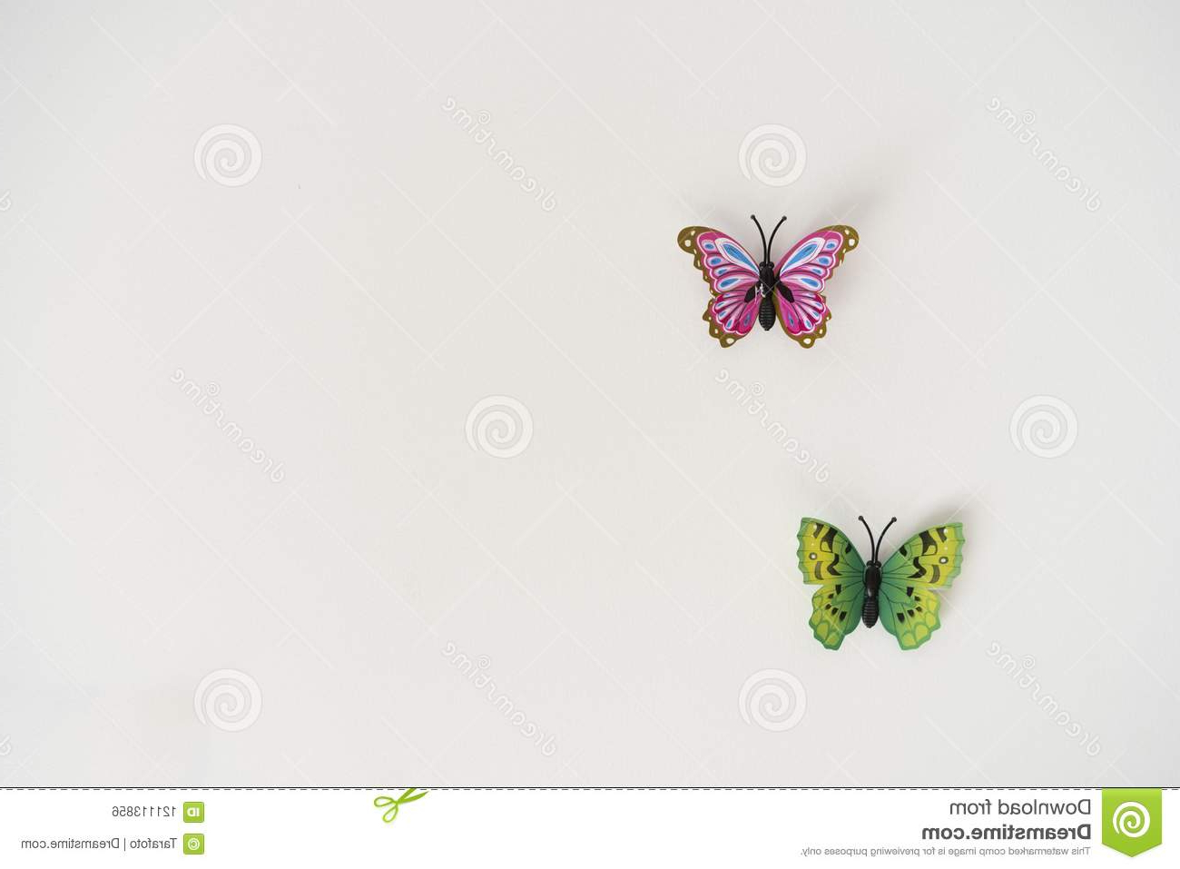 Butterflies On White Wall Stock Photo (View 20 of 20)