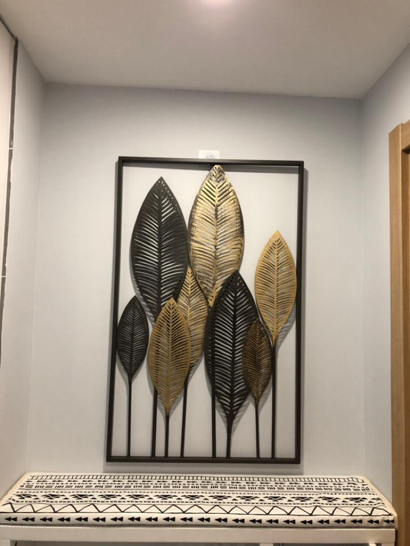 Cami Rectangular Metal Leaves Wall Decor, Gold/black With Regard To Favorite Rectangular Metal Wall Décor (View 18 of 20)