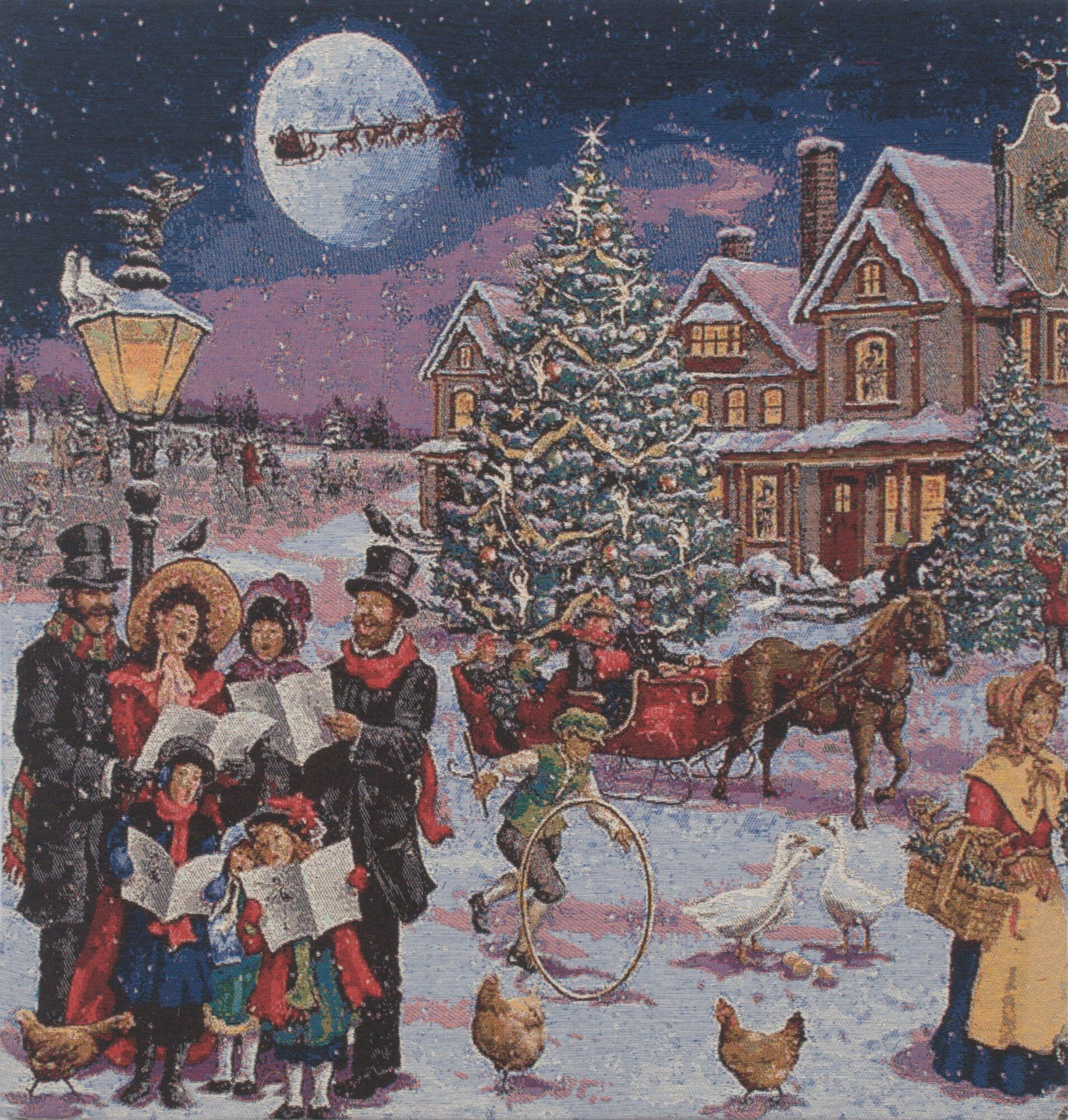 Carolers Stretched Wall Tapestry With Most Popular Blended Fabric Blessings Of Christmas Tapestries (View 5 of 20)