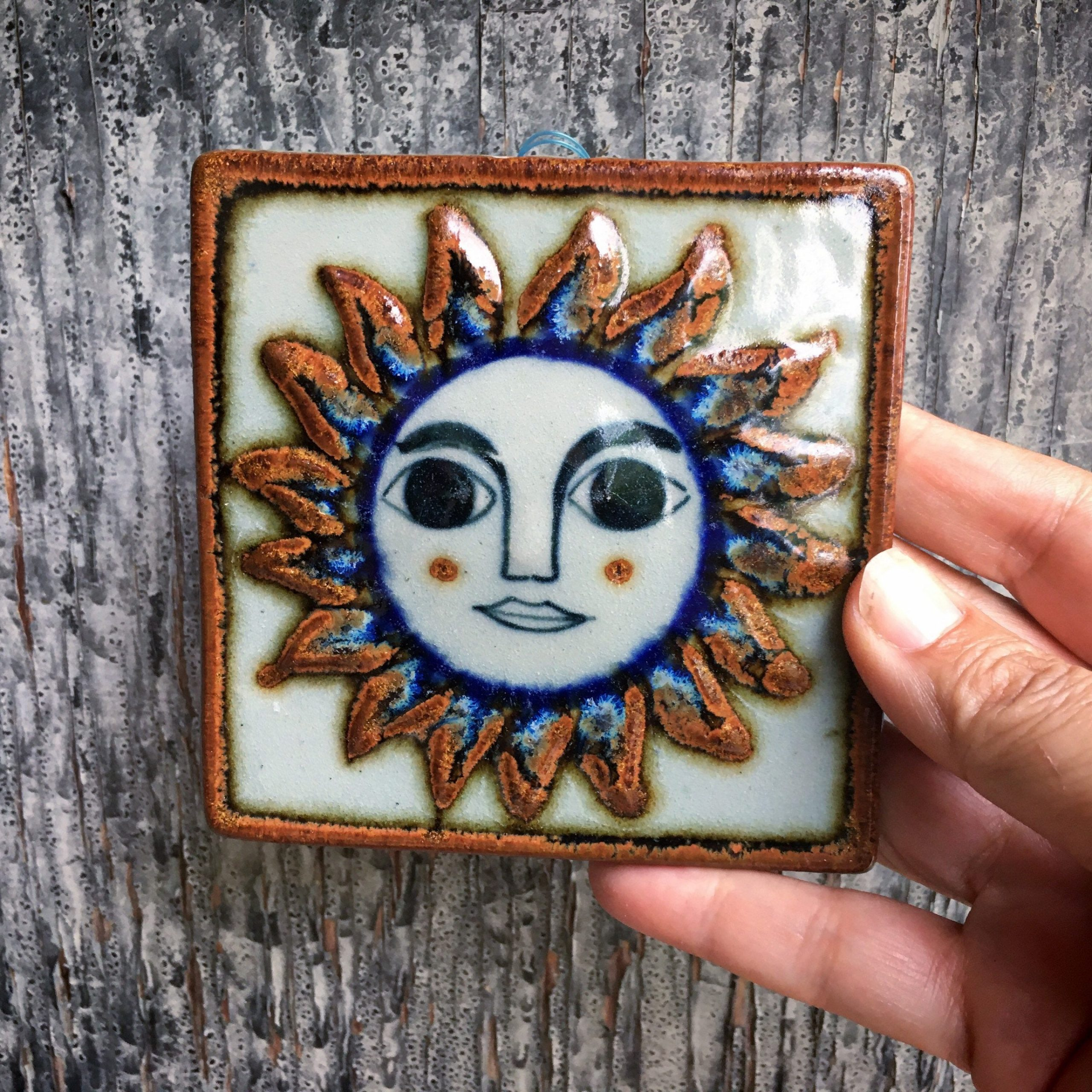 Ceramic Rustic Wall Décor With Regard To Latest Small 4x4 Vintage Mexican Ceramic Tile Wall Hanging Of Sun (View 17 of 20)