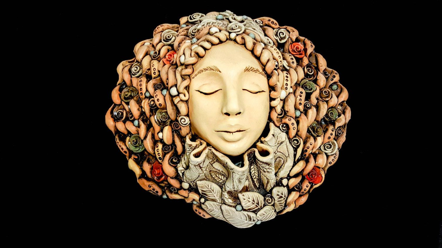 Ceramic Wall Art Rustic Wall Decoration Ceramic Women Face Pertaining To Famous Ceramic Rustic Wall Décor (View 4 of 20)