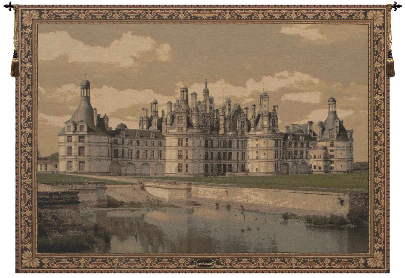 Chambord Castle Belgian Medieval Monument Design Woven Tapestry Wall Hanging Within Trendy Chambord Castle I European Wall Hangings (Gallery 4 of 20)