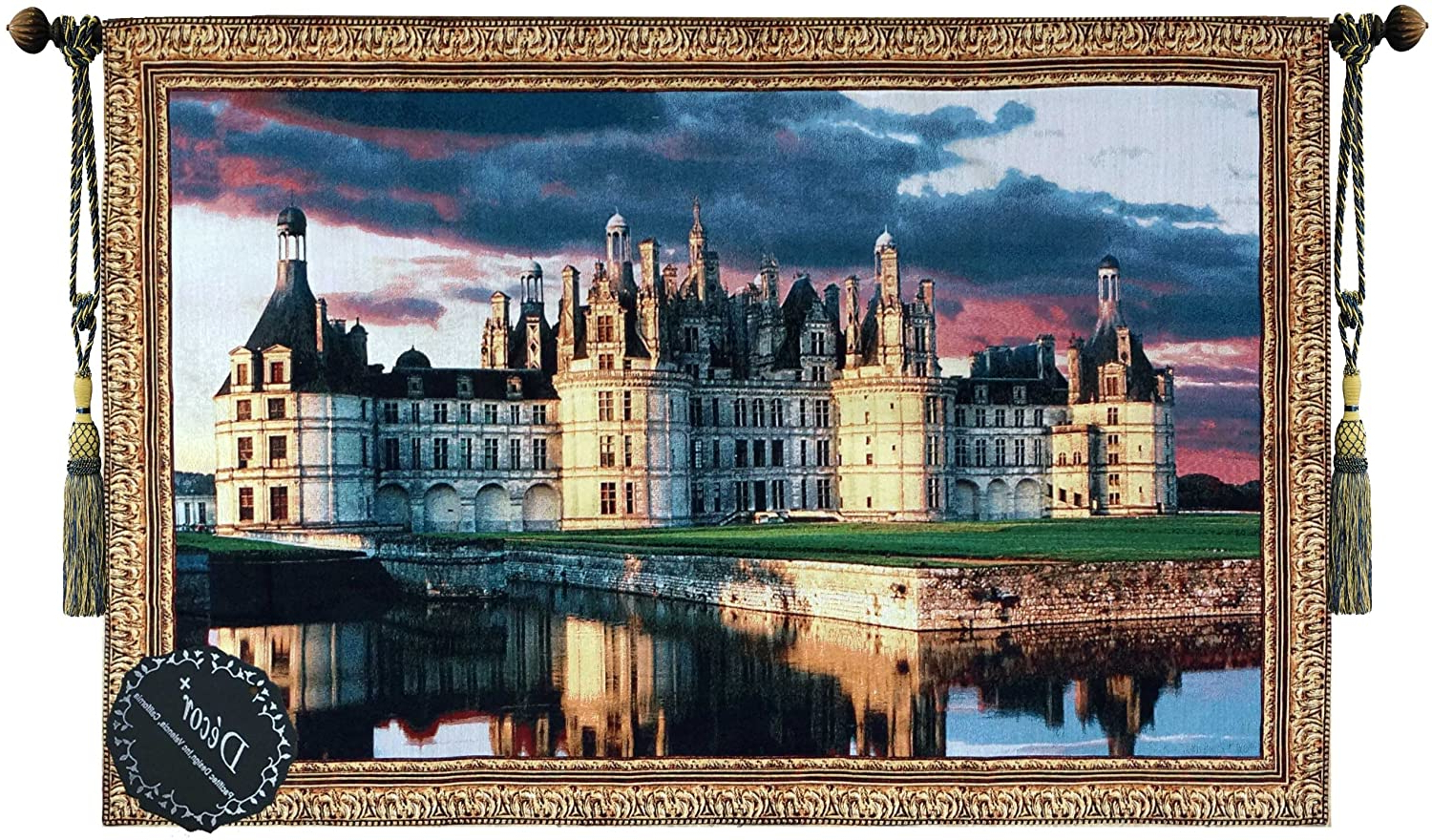 Chambord Castle I European Wall Hangings With Regard To Best And Newest Beautiful Medieval Castle Fine Tapestry Jacquard Woven Wall Hanging Art Decor (View 10 of 20)