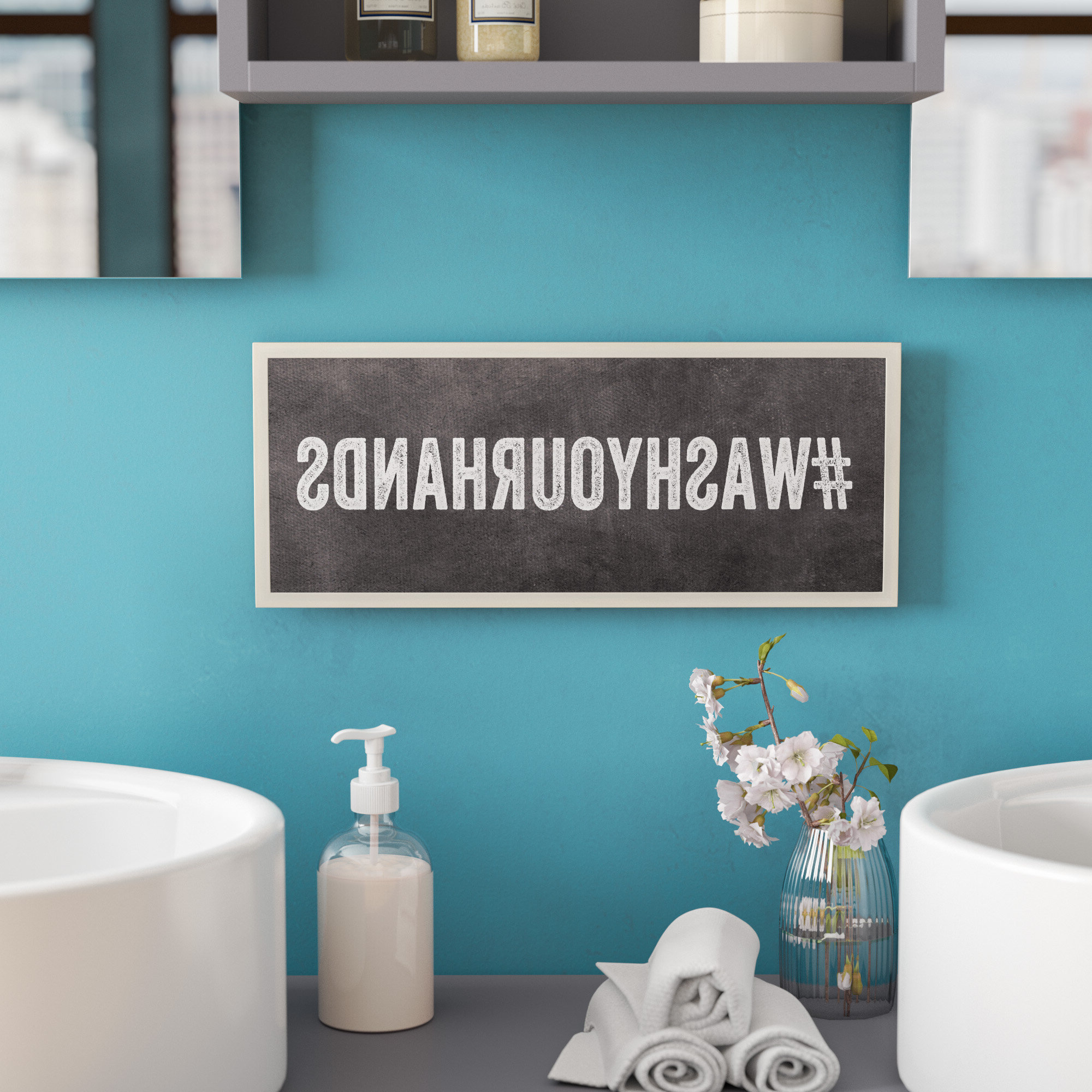 Featured Photo of Cheng Wash Your Hands Hashtag Bathroom Wall Plaque