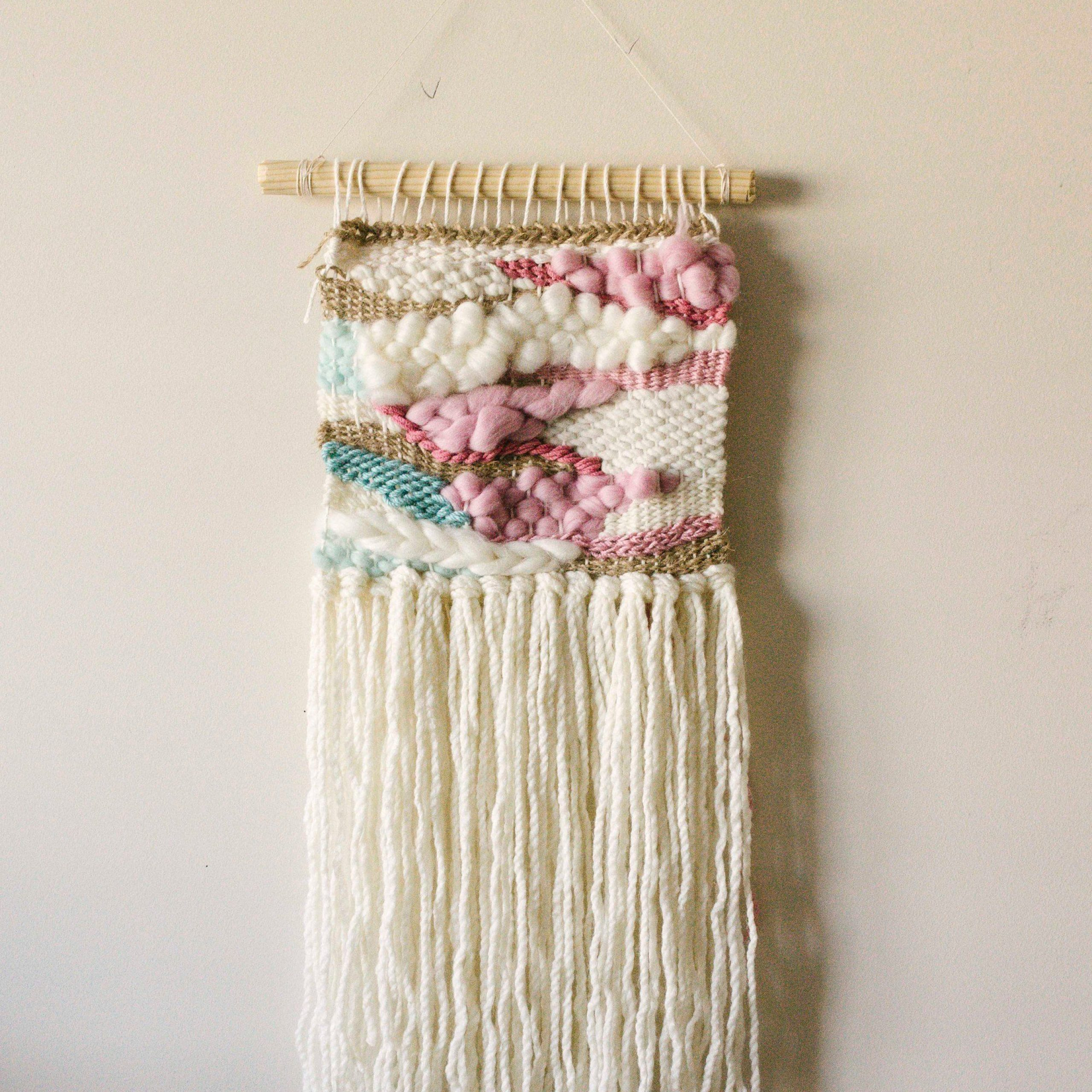 Cherry Blossom Woven Wall Hanging Pink Woven Tapestry Boho Throughout Fashionable Blended Fabric Hello Beauty Full Wall Hangings (View 16 of 20)