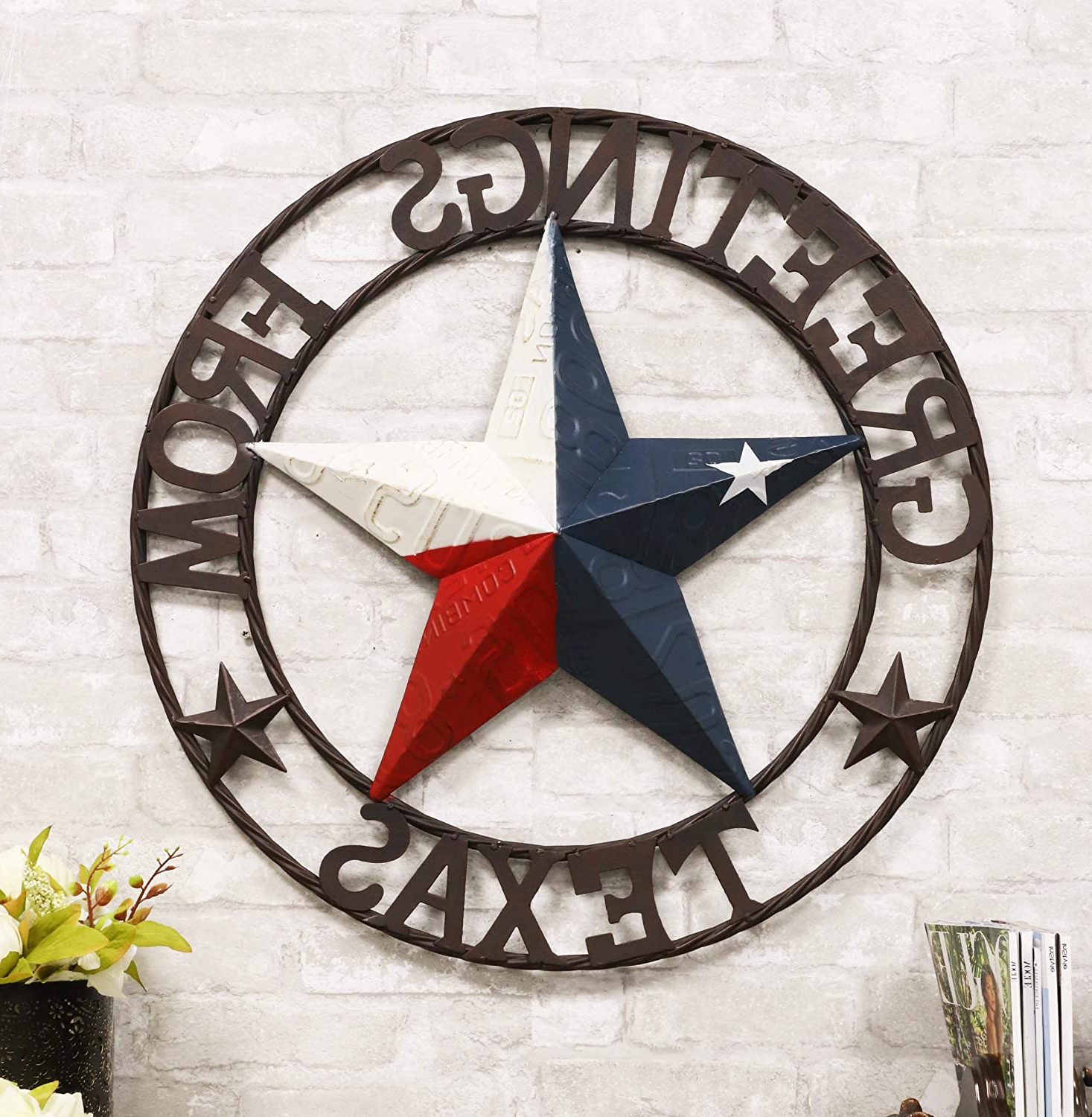 """Coastal Flag Sign With Rope Wall Décor Regarding Most Recently Released Ebros Gift Oversized 24"""" Wide Vintage Rustic Western Greetings From Texas Lone Star With Braided Rope Border Design Metal Circle Wall Hanging Decor 3d (View 8 of 20)"""