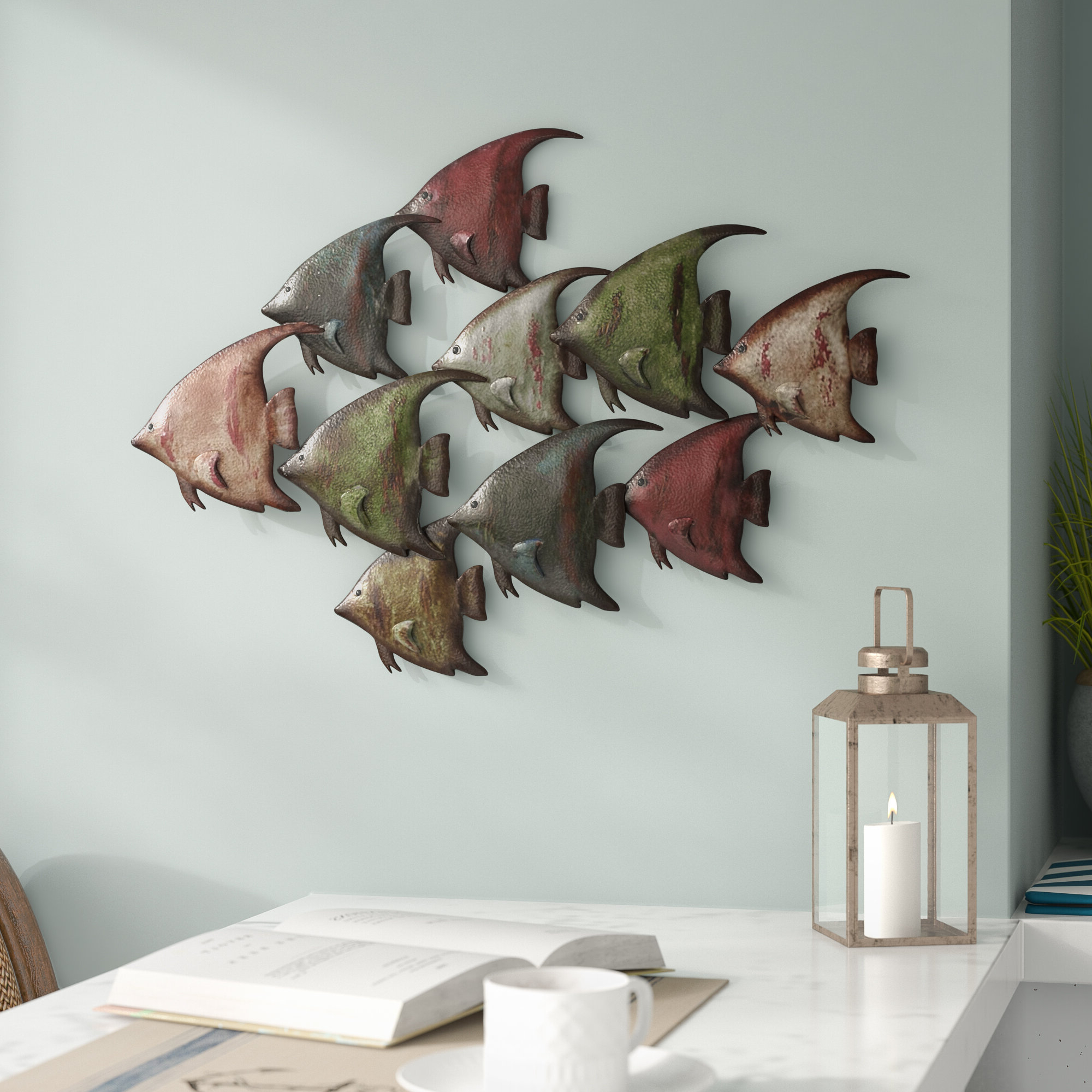 """Coastal Metal Fish Wall Décor With Well Known 6"""" Chrome Poop Deck Sign Wall Décor (View 13 of 17)"""