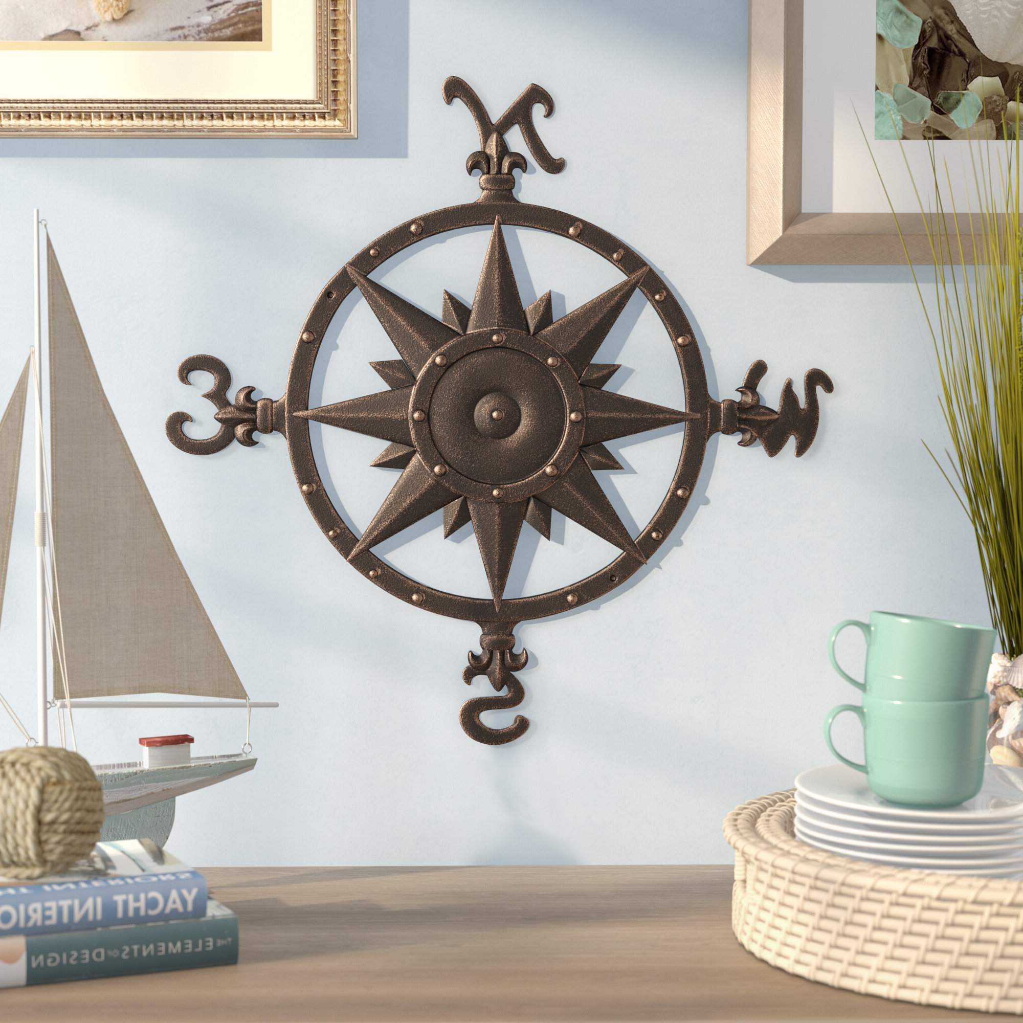 Featured Photo of Compass Metal Wall Décor By Beachcrest Home