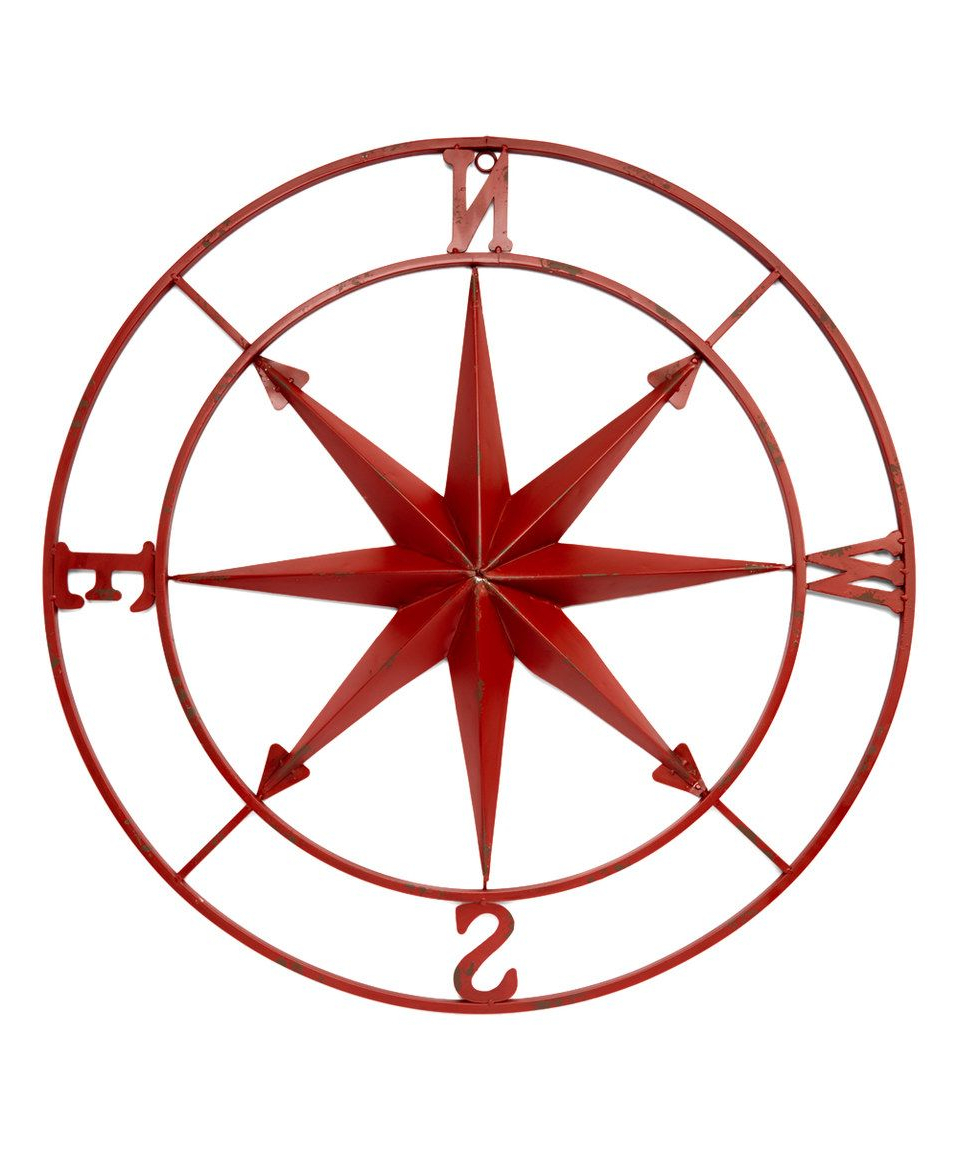 Compass Metal Wall Décor By Beachcrest Home Pertaining To Popular Red Tin Compass Décor (View 18 of 20)