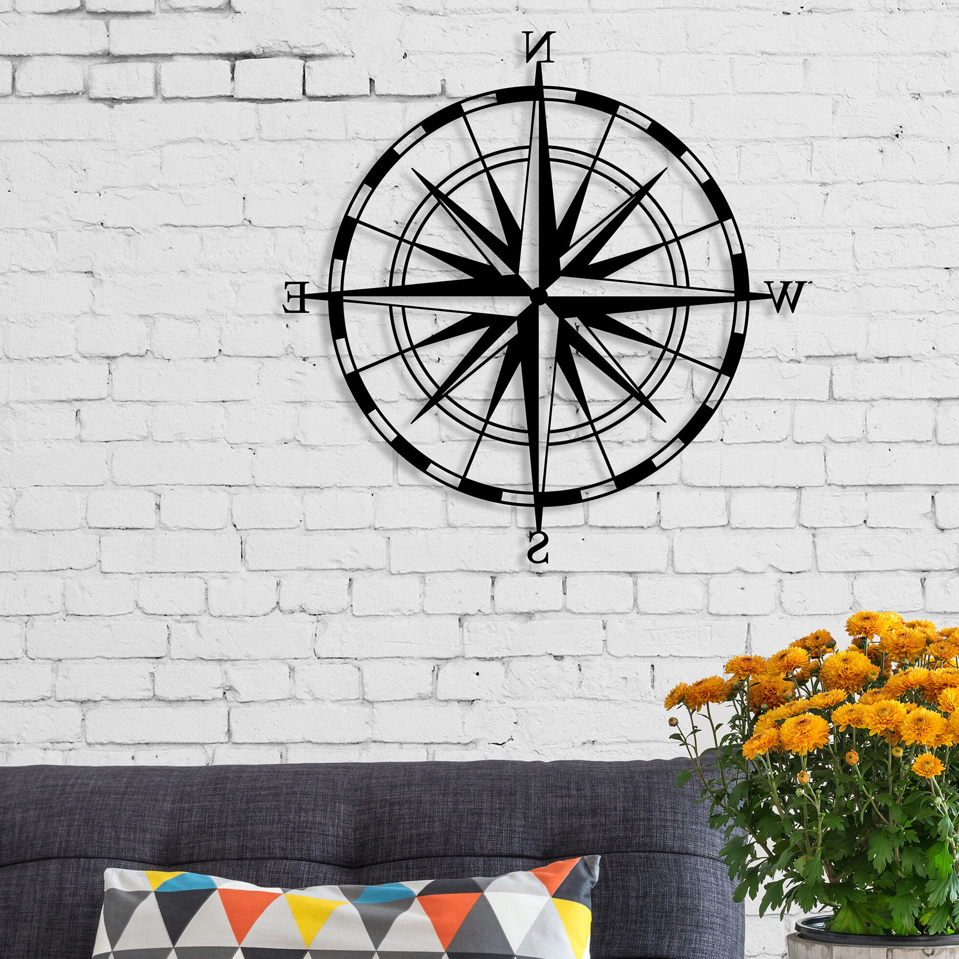 Compass Modern Metal Wall Decor With Regard To Newest Compass Metal Wall Décor By Beachcrest Home (View 6 of 20)