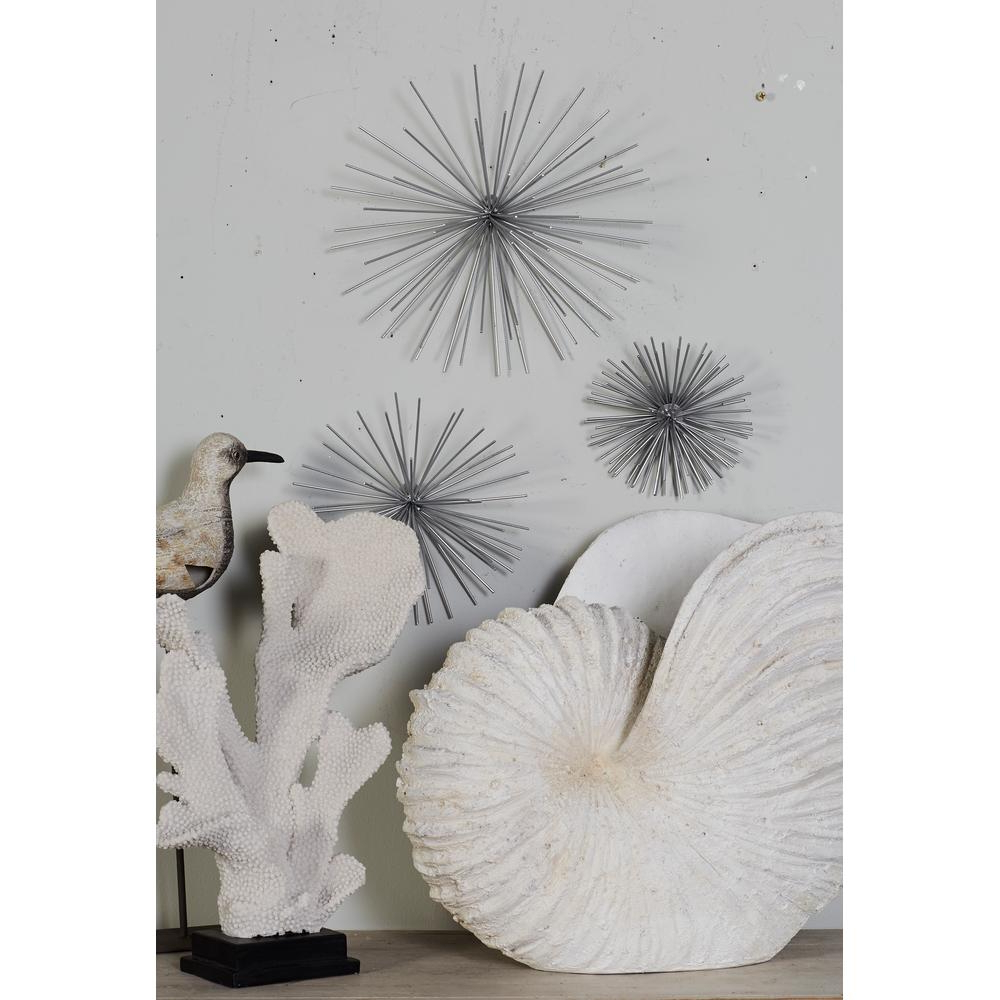 Cosmolivingcosmopolitan Iron Silver Starburst Metal Wall Decors (set Of 3) 50389 – The Home Depot Regarding Widely Used Metal Wall Décor By Cosmoliving (View 11 of 20)