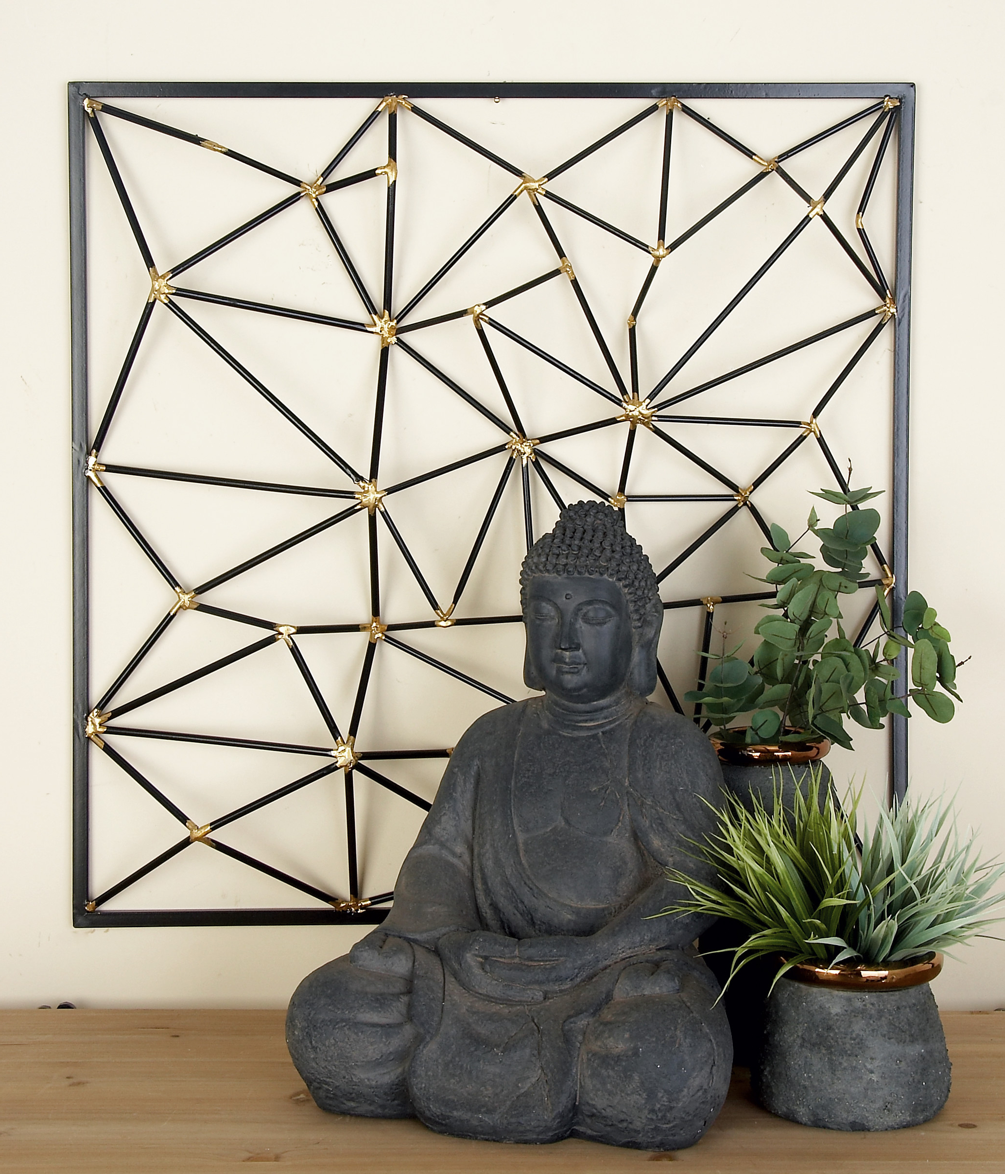 """Cosmolivingcosmopolitan Modern Style Large Square Metallic Gold And Black Metal 3d Abstract Art Wall Decor, 32"""" X 32"""" – Walmart With Regard To Most Current Metal Wall Décor By Cosmoliving (View 19 of 20)"""