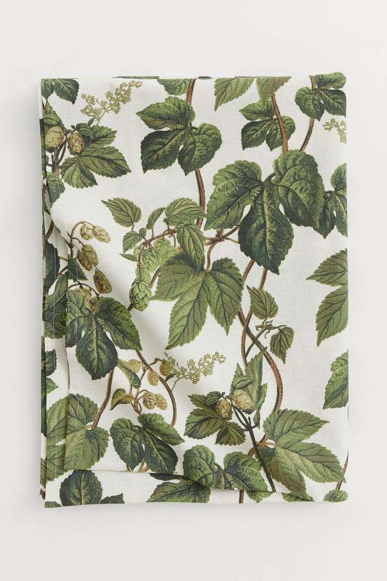 Cotton Blend Tablecloth – Natural White/leaf Patterned In Newest Blended Fabric Leaves Wall Hangings (View 10 of 20)