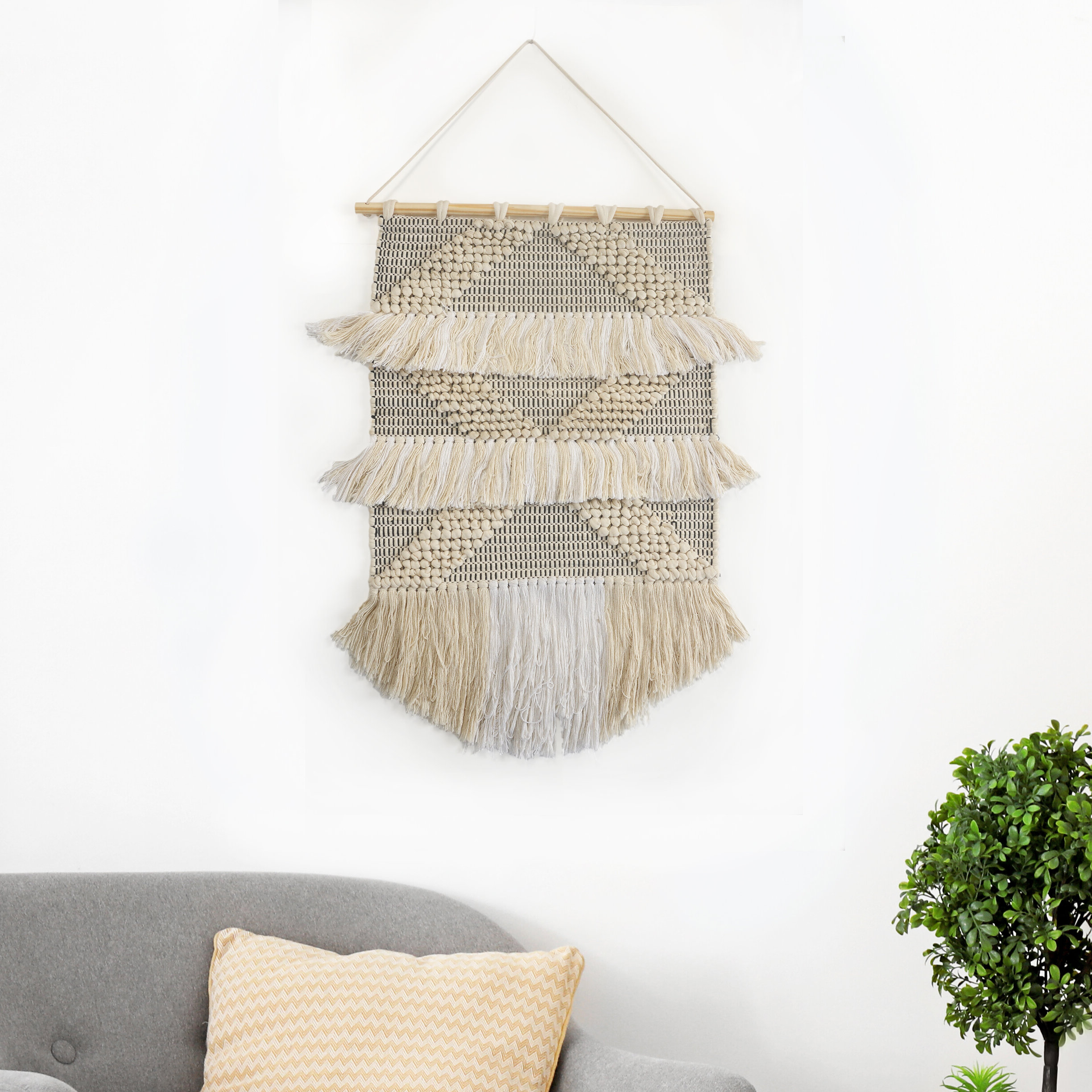 Cotton Diamond Tufted And Fringed Wall Hanging With Hanging Accessories Included Regarding Most Recently Released Blended Fabric Southwestern Bohemian Wall Hangings (View 19 of 20)