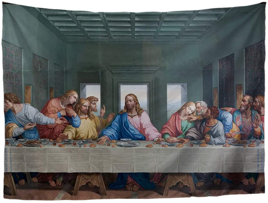 Cozeyat The Last Supper Vintage Tapestry Classic Art Print Wall Hanging Jesus Christ Tapestries For Bedroom Living Room Dorm Decor,152x129cm/60 X50 Within Famous Blended Fabric Leonardo Davinci The Last Supper Wall Hangings (View 18 of 20)