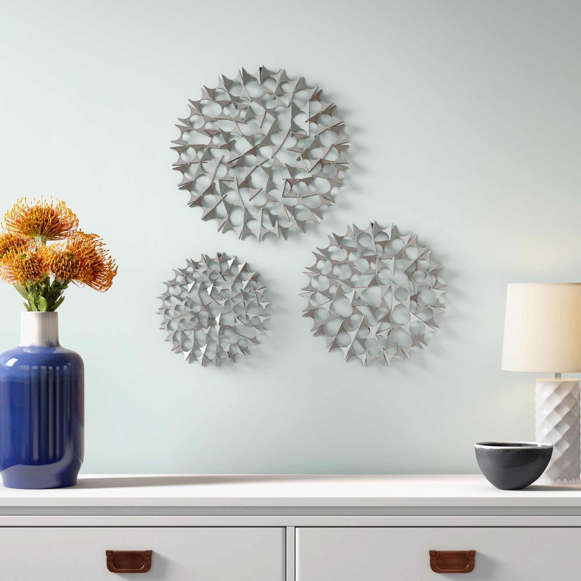 Current 3 Piece Metal Flower Wall Décor Set In Hendon Piece Metal Wall Décor Set (View 15 of 20)