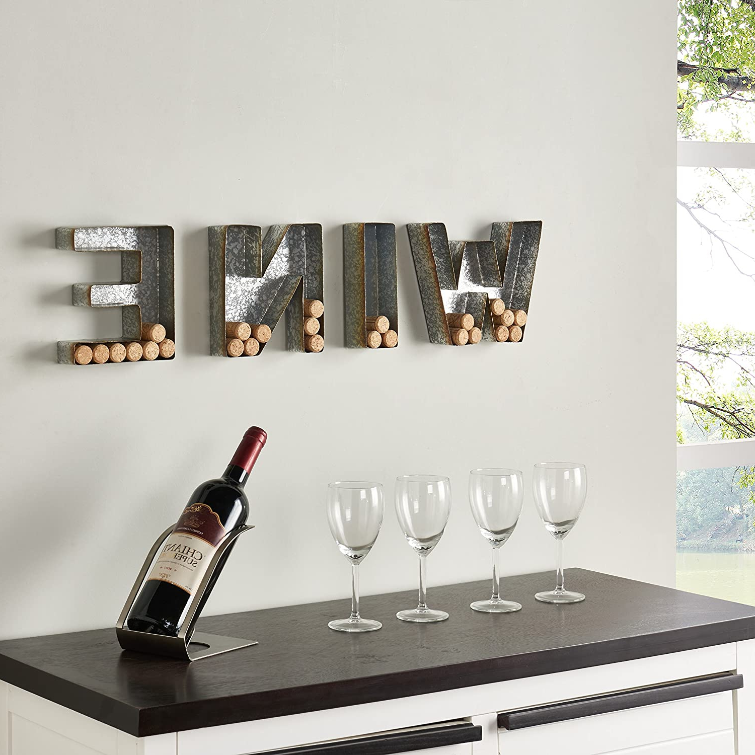 "Current 4 Piece ""wine"" Letter Set Cork Holder Wall Décor Set Within Danya B (View 5 of 20)"