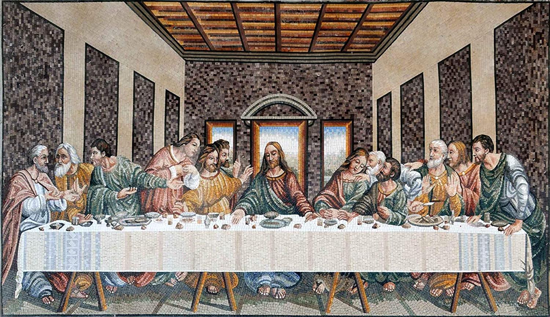 Current Amazon : Mozaico Leonardo Da Vinci Last Supper In Blended Fabric Leonardo Davinci The Last Supper Wall Hangings (View 3 of 20)