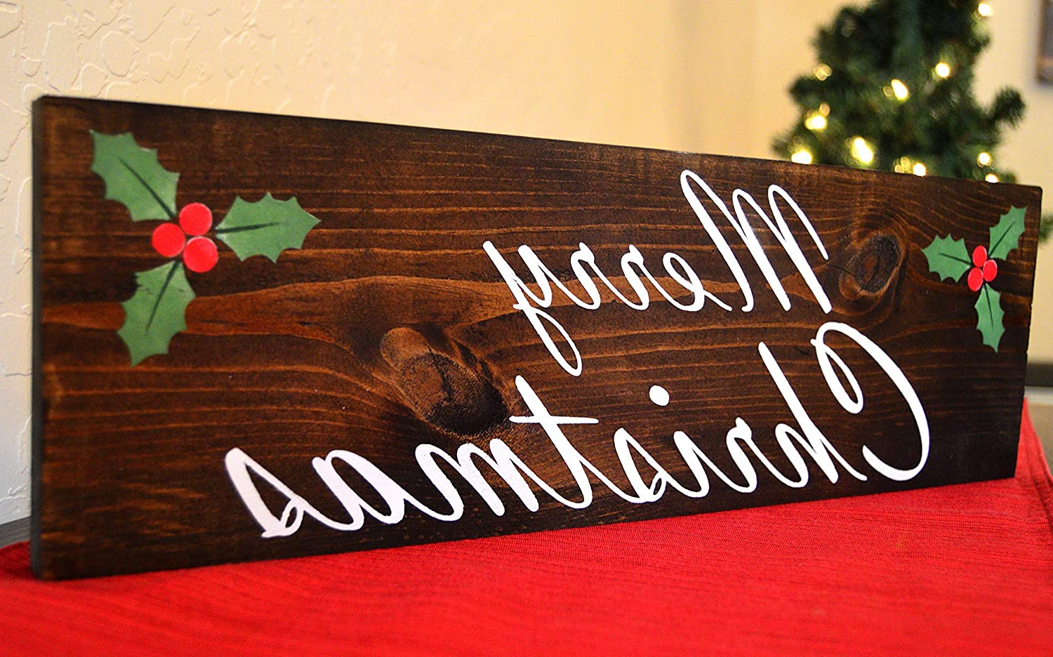 Current Amazon: Rfy9u7 Merry Christmas Wood Sign – Holiday Wall Regarding Merry Christmas Sign Wall Décor (View 6 of 20)