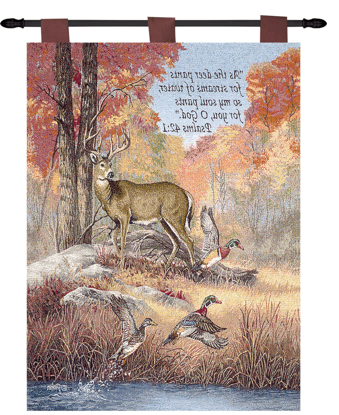 Current Blended Fabric Autumn Tranquility Verse Wall Hangings For Fur Feathers & Fall Verse Tapestry (View 2 of 20)