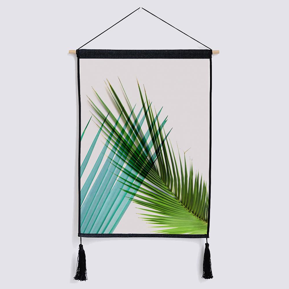 Current Blended Fabric Leaves Wall Hangings Inside Nordic Palm Leaves Tassel Cloth Tapestry Wall Hanging (View 8 of 20)