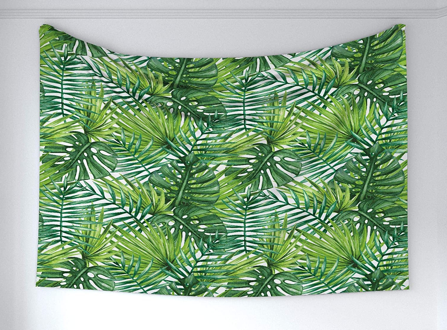 Current Blended Fabric Leaves Wall Hangings Within Ambesonne Leaf Tapestry, Tropical Exotic Banana Forest Palm Tree Leaves Watercolor Design Image, Fabric Wall Hanging Decor For Bedroom Living Room (View 18 of 20)
