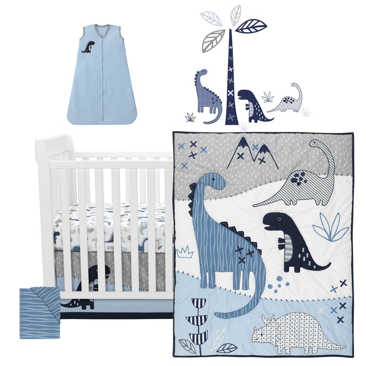Current Blended Fabric Mod Dinosaur 3 Piece Wall Hangings Set Throughout Baby Dino 6 Piece Crib Bedding Set (View 16 of 20)