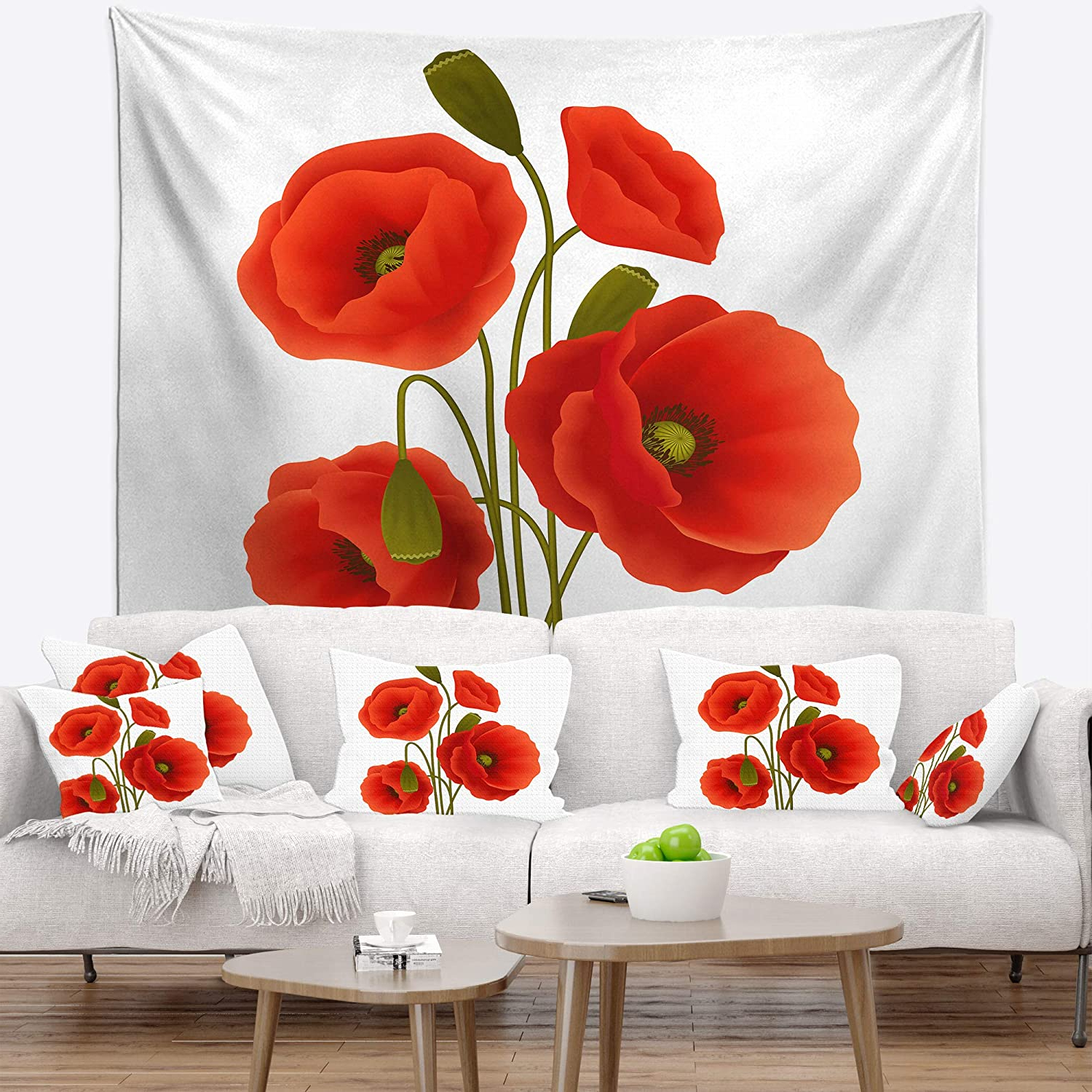 Current Blended Fabric Poppy Red Wall Hangings Pertaining To Designart Tap13016 68 80 Close Up View Of Poppy On White (View 20 of 20)