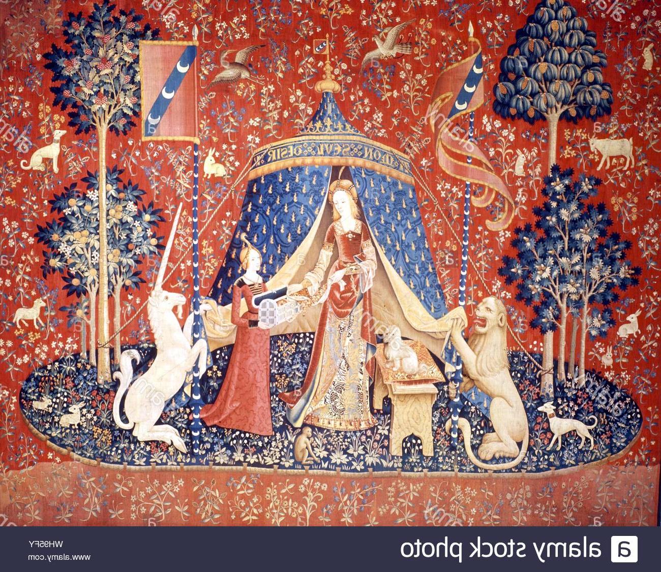 Current Dame A La Licorne I Tapestries Intended For Tapestry: C.1509 13. La Dame A La Licorne (View 10 of 20)