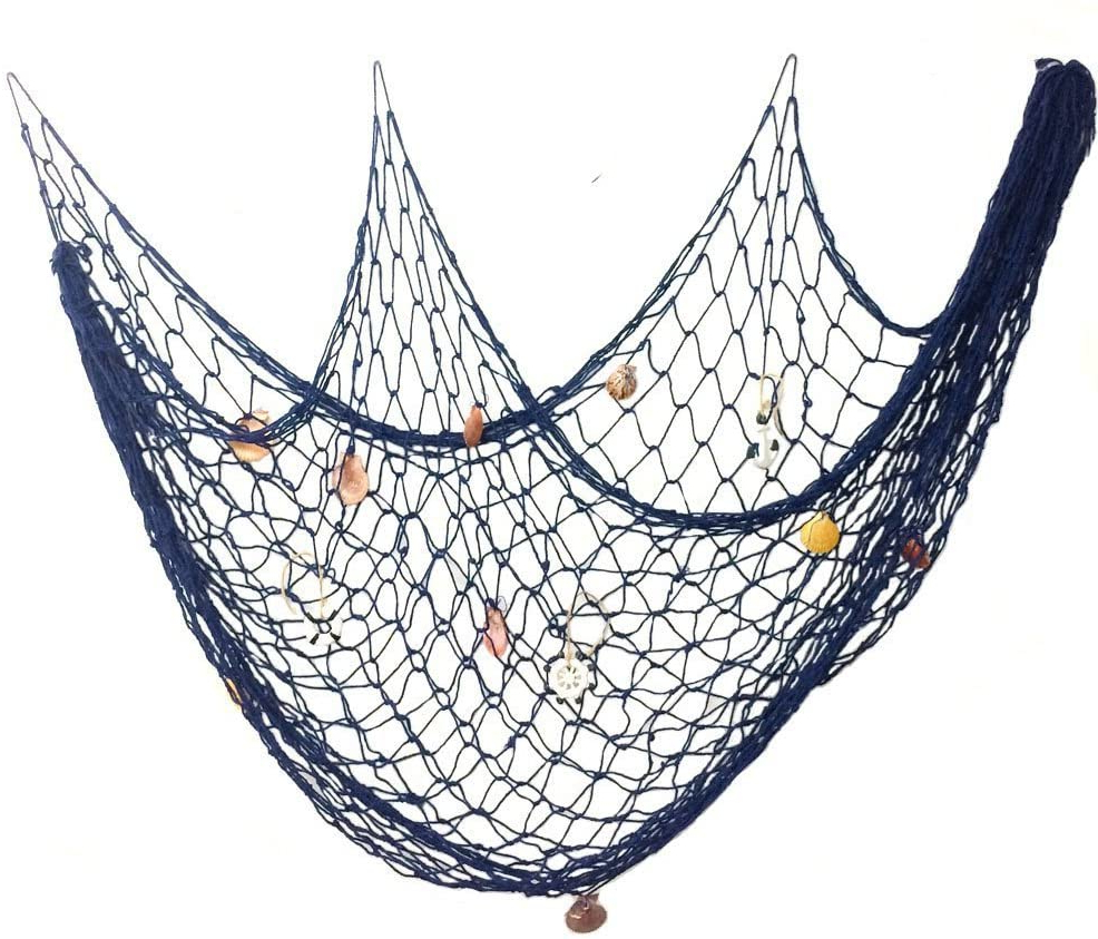 Current Handcrafted Hanging Fish In Net Wall Décor Intended For Cuitan 150 X 200cm Decorative Fish Net With Seashells, Handmade Fishing Net Hanging For Home Living Room Bedroom Seaside Nautical Ocean Theme Party (View 9 of 20)