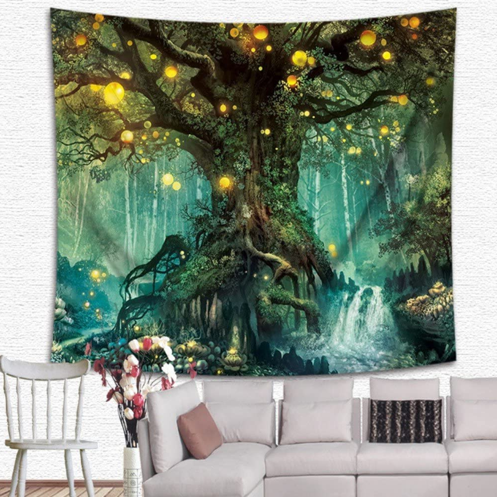 Current Krwhts Magical Love Tree Of Life Tapestry Wall Hanging Psychedelic Forest In Star Moon Night For Blended Fabric Living Life Tapestries (View 10 of 20)