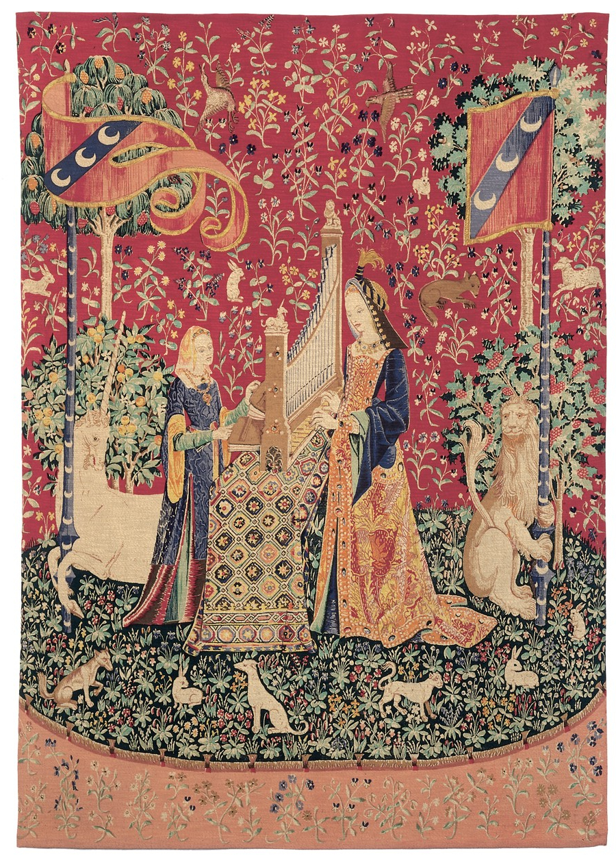 Current La Dame A La Licorne 'l'ouie' Tapestry In Dame A La Licorne I Tapestries (View 5 of 20)