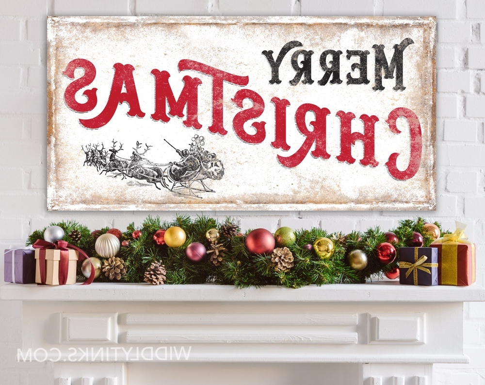 Current Merry Christmas Sign Wall Décor For Vintage Farmhouse Merry Christmas Sign With Santa's Sleigh (View 9 of 20)