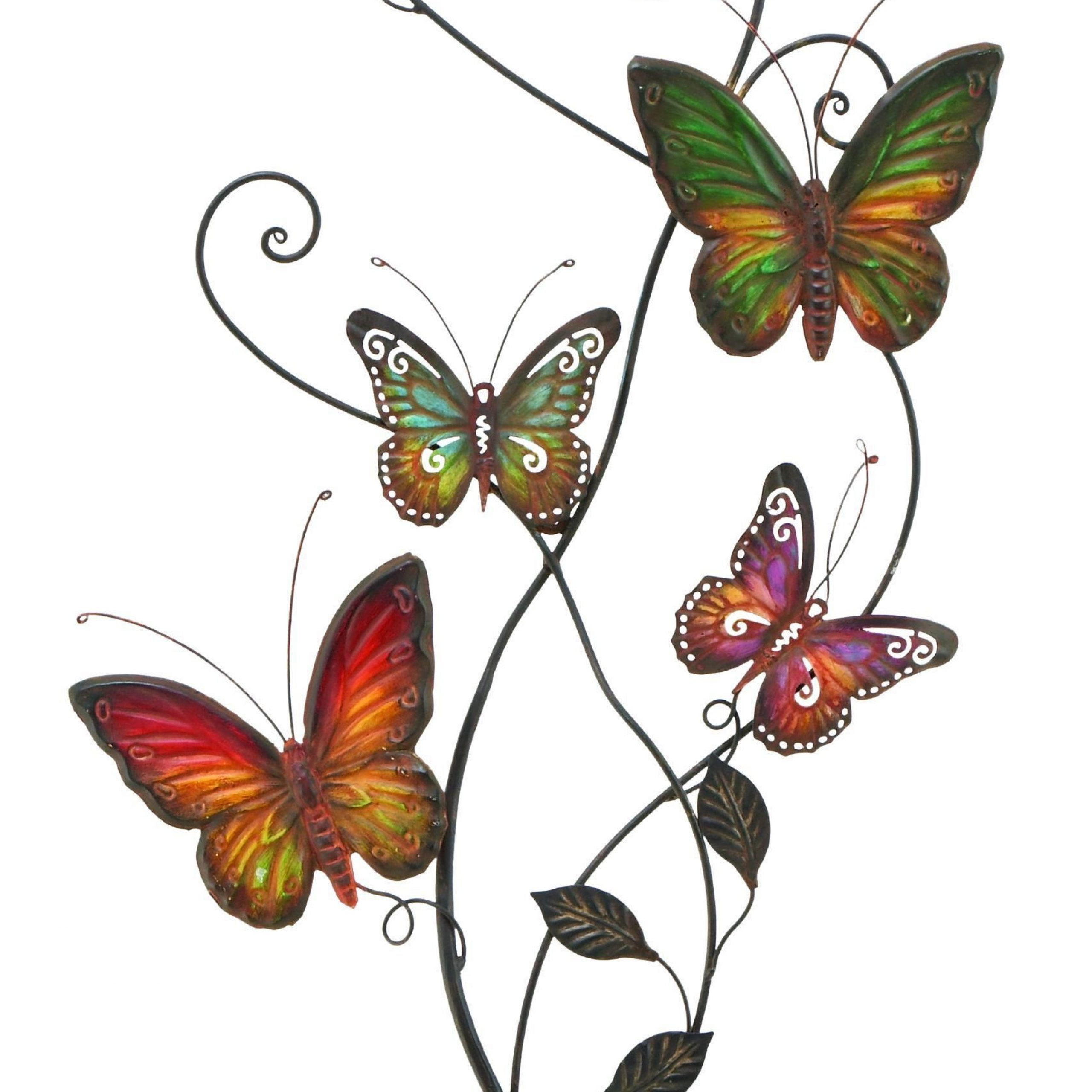 Current Multicolored Butterfly Bouquet Wall Décor Within Colorful Butterflies Metal Wall Decor, Multicolor Benzara (View 8 of 20)