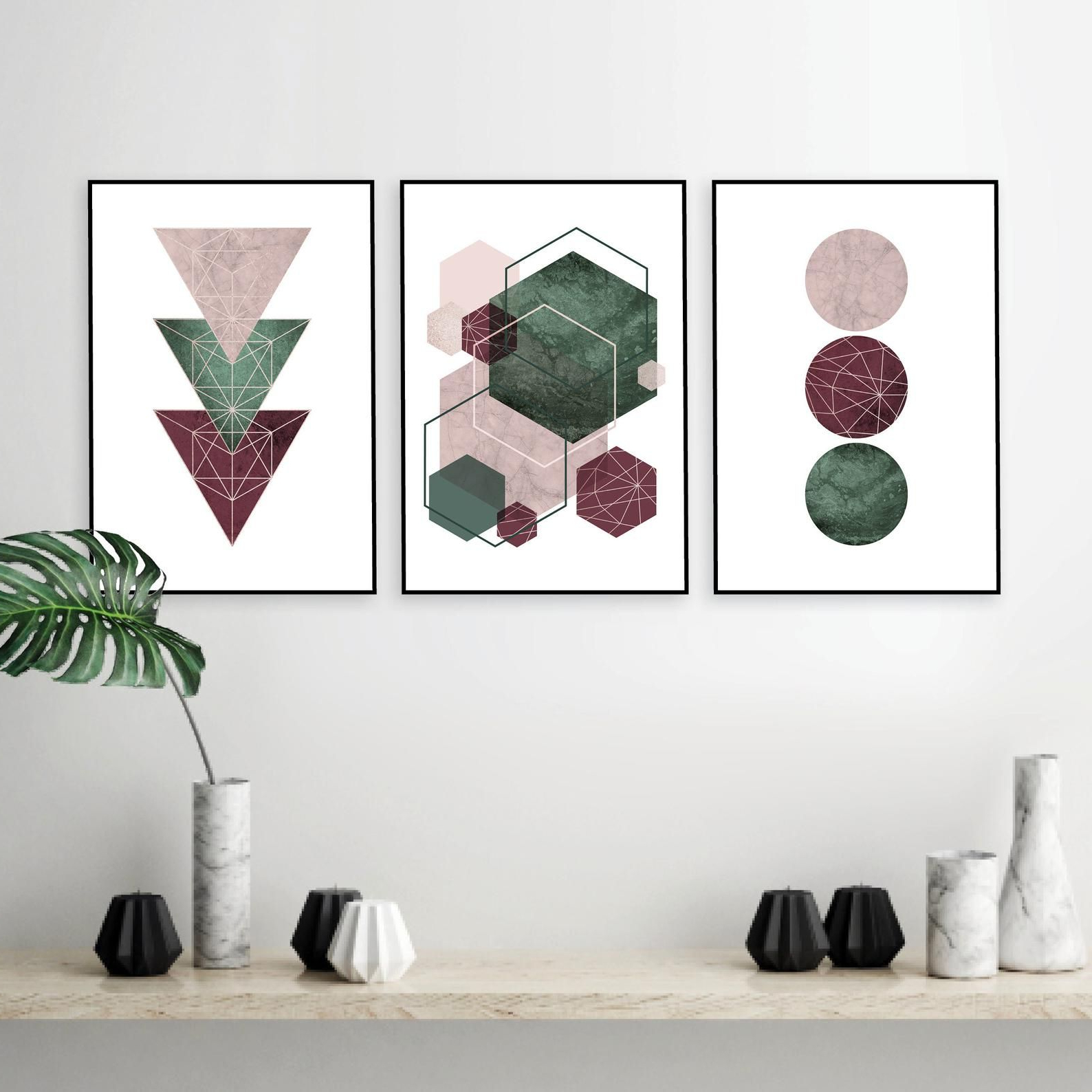Current Paulina Panels Wall Décor (set Of 2) Within Download Posters Geometric, Burgundy Green Blush Wall Decor (View 6 of 20)