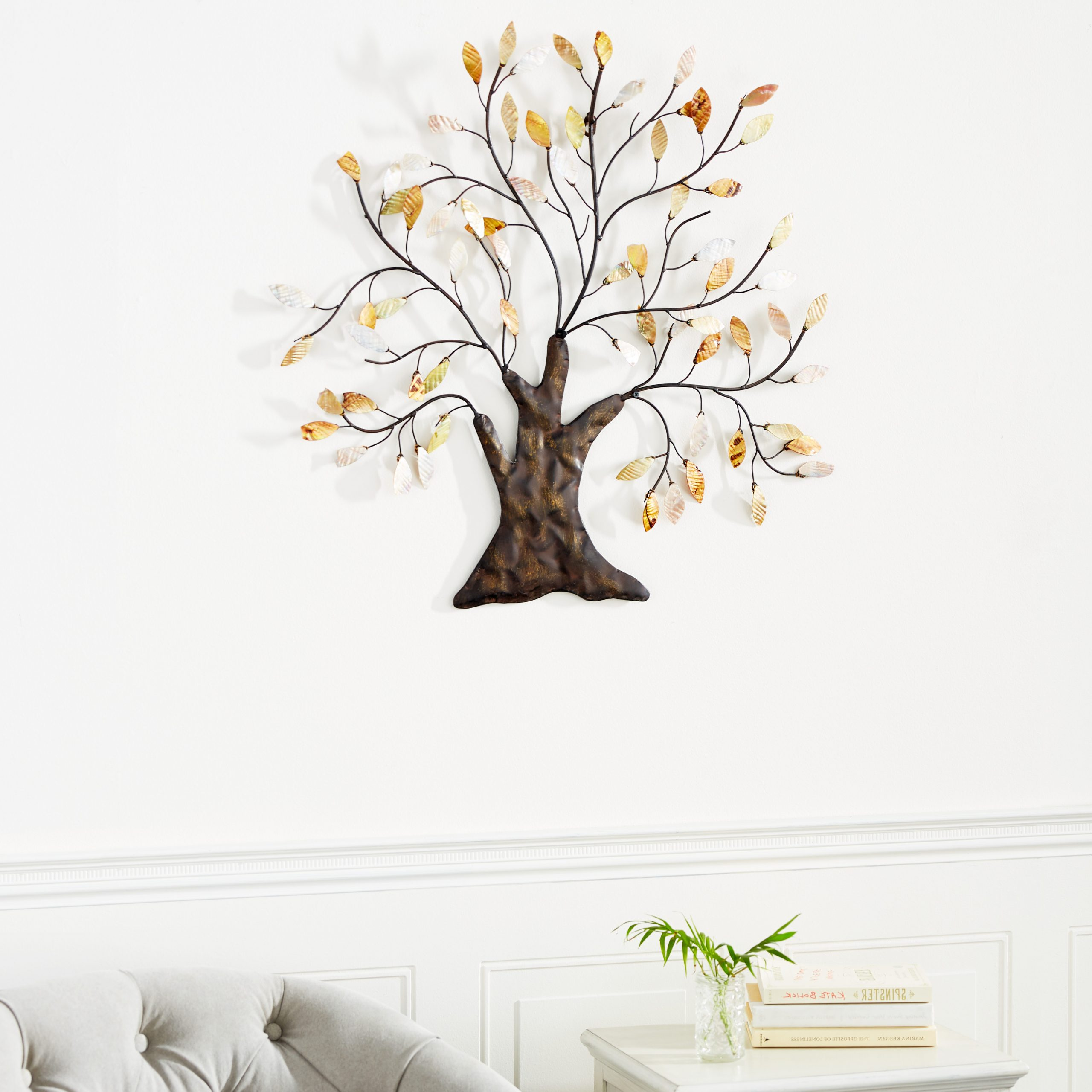 """Decmode – 30"""" X 29"""" Metal Tree Wall Art Traditional Home Decor W/ Capiz Shell Leaves – Walmart Throughout Most Recently Released Metal Capiz Wall Decor By Wrought Studio (View 6 of 20)"""