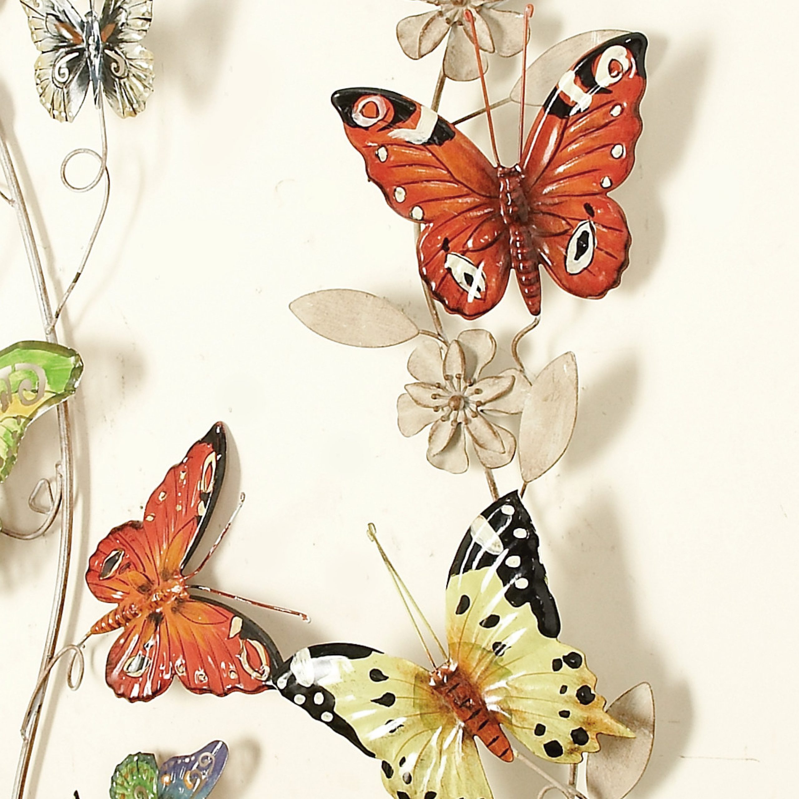 """Decmode Outdoor 39"""" X 10"""" Multi Colored Metal Eclectic Wall Art In Trendy Multicolored Butterfly Bouquet Wall Décor (View 17 of 20)"""