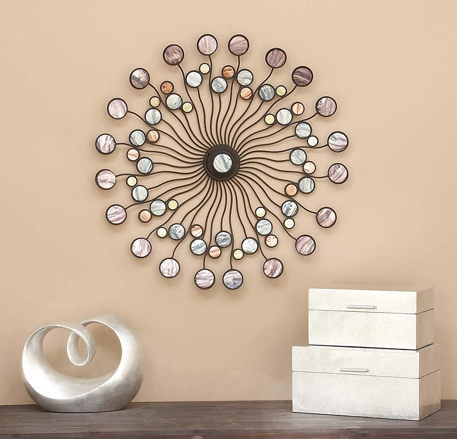 """Deco 79 13533 Metal Wall Modern Iron Starburst Wall Decor, 27"""", Multicolor In Most Recently Released Tall Cross Rust Wall Décor (View 16 of 20)"""