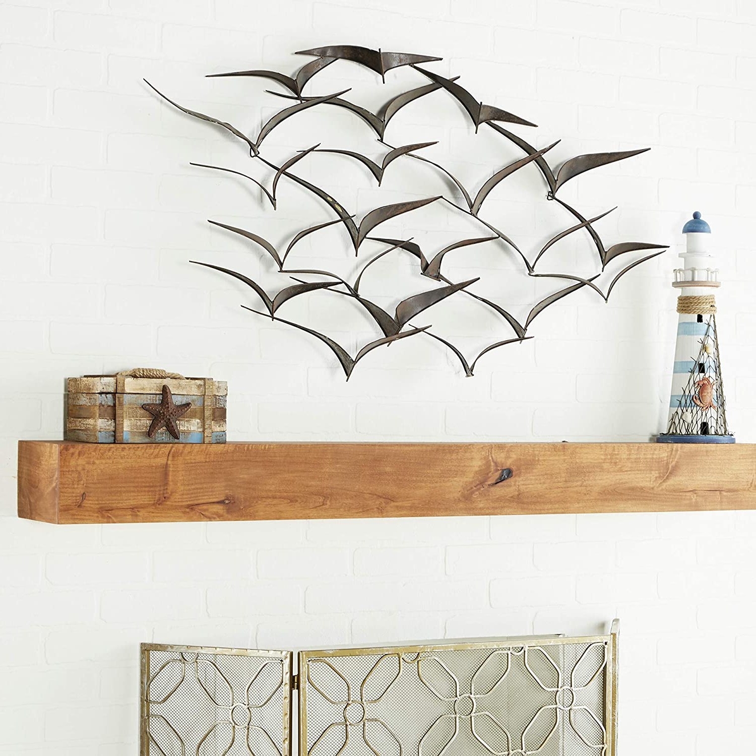 """Deco 79 Brown Flying Birds Modern Metal Wall Art Décor, 47"""" X 26"""" For 2019 Metal Birds Wall Décor By Beachcrest Home (View 6 of 20)"""