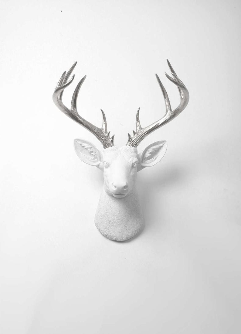 Deer Head Wall Mount Decor – The Xl Frankfurt White + Silver Deer Decor Wall Hanging – Fake Animal Head White Faux Taxidermy Stag Mounts For Trendy The Frankfurt Deer Head Wall Décor (View 2 of 20)