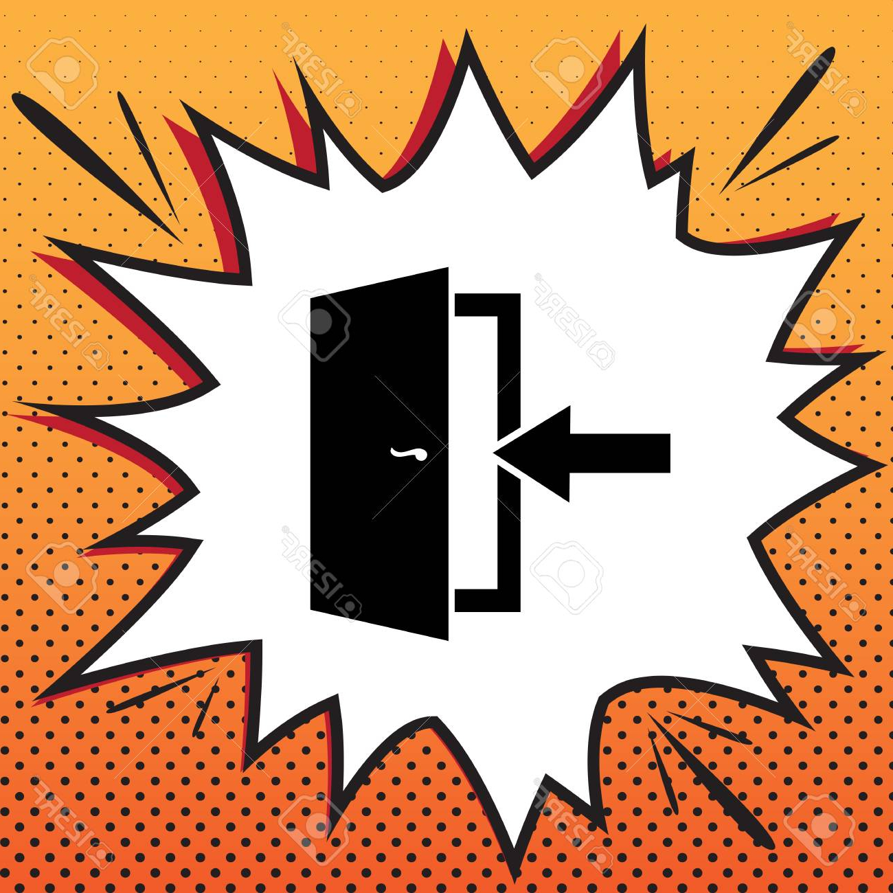Door Exit Sign. Vector. Comics Style Icon On Pop Art Background (View 13 of 20)