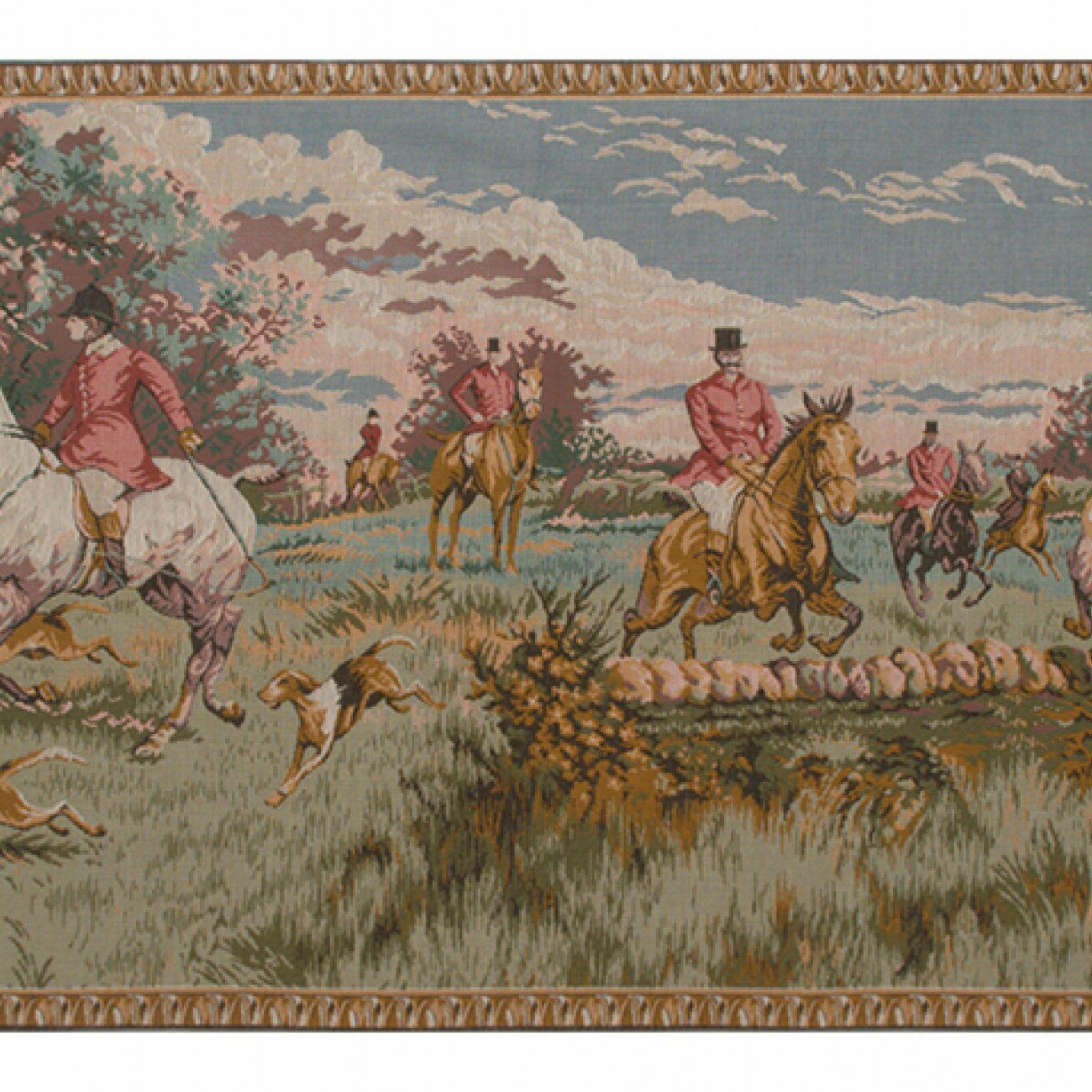 English Hunting Scene European Tapestry Intended For Favorite Blended Fabric Bellagio Scalinata Wall Hangings (View 13 of 20)