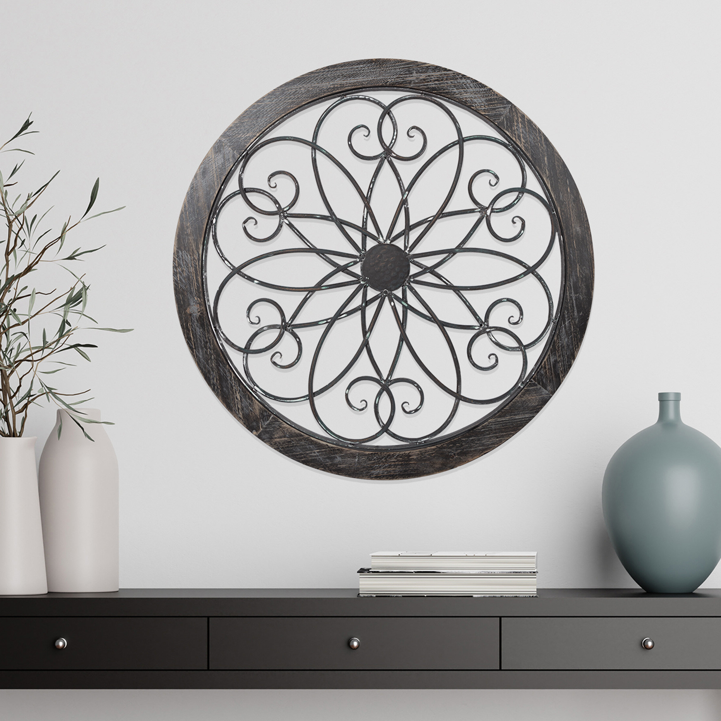 European Medallion Wall Décor In Widely Used Metal And Wood Medallion Wall Décor (View 13 of 20)