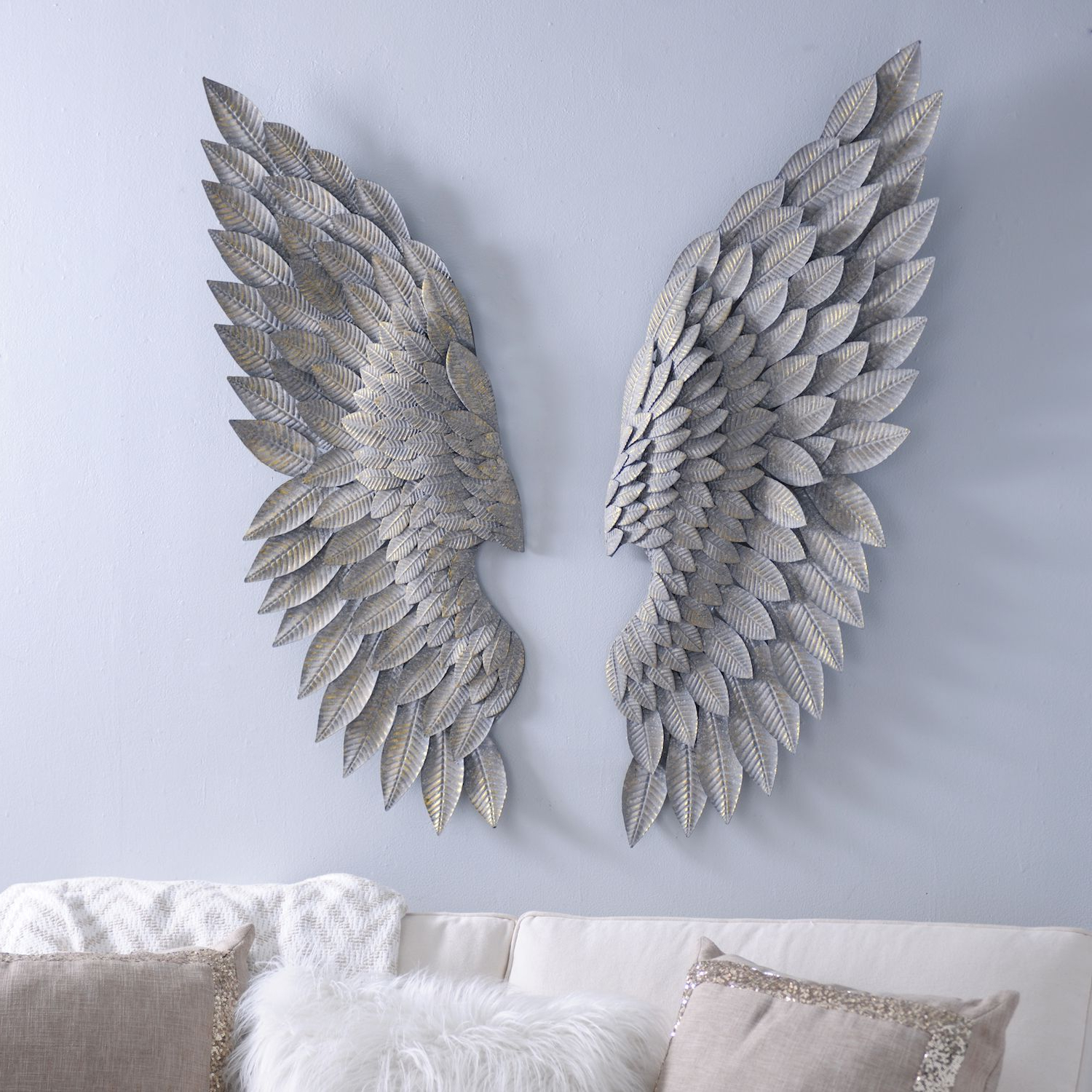Express Your Unique Home Style With The 'brushed Gold Angel Inside Well Known Wing Wall Décor By One Allium Way (View 15 of 20)