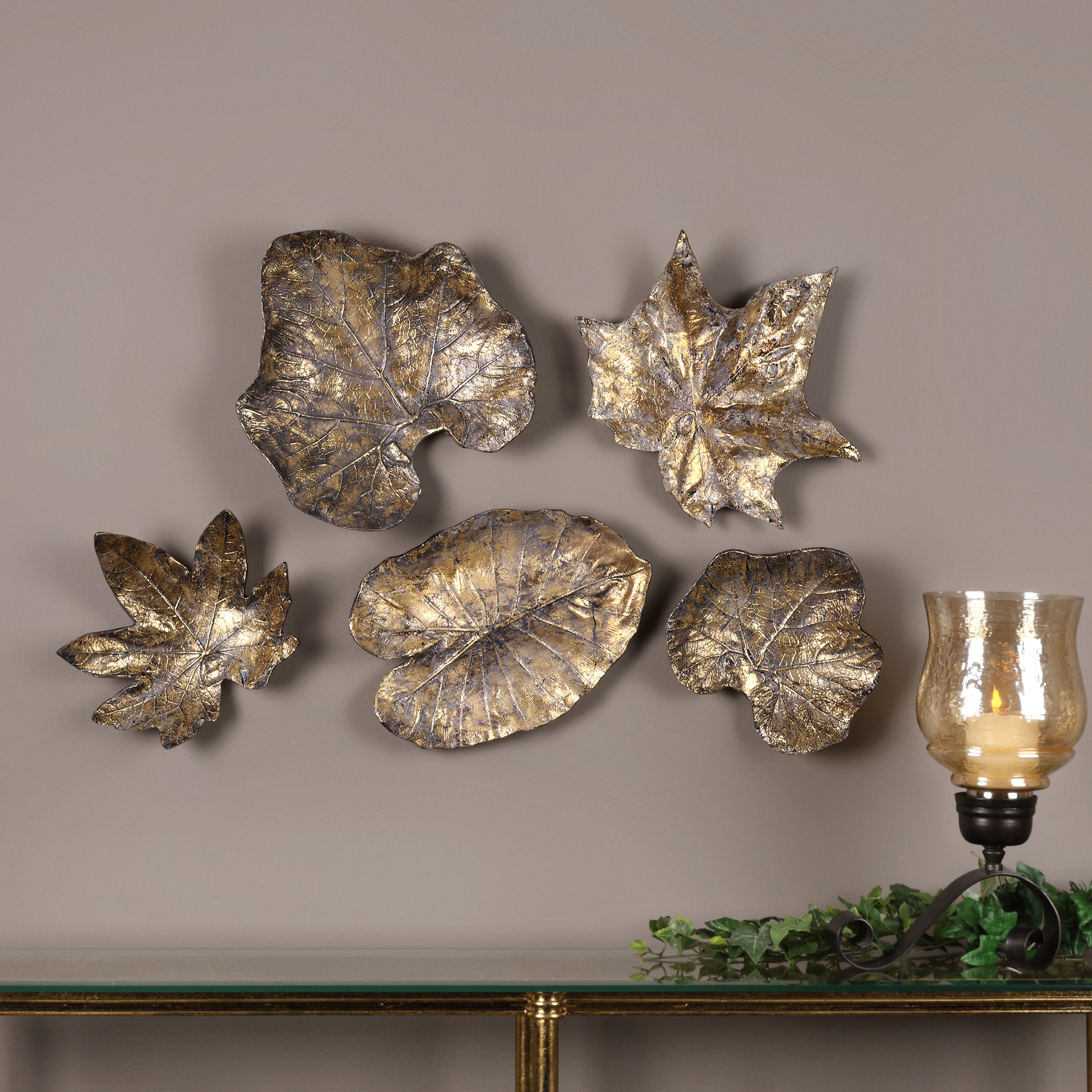 Famous 5 Piece Bronze Leaves Wall Décor Set Regarding 3 Piece Prisma Wall Décor Set (View 18 of 20)