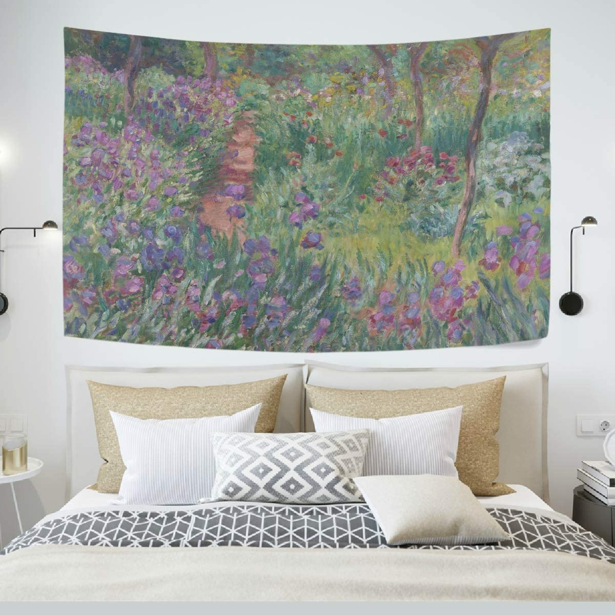 Famous Ahomy Tapestry Wall Hanging, Monet's Iris Garden At Giverny Bedspread Picnic Bedsheet Blanket Wall Art Tapestry 60 X 40 Inch Within Blended Fabric Irises Tapestries (View 20 of 20)