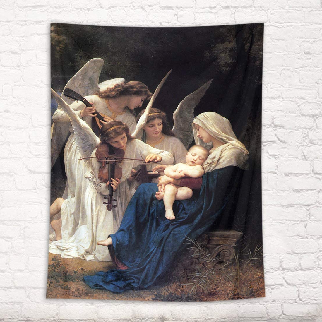 Famous Blended Fabric Blessings Of Christmas Tapestries Inside Hvest Christian Tapestry Wall Hanging Angels Play The Violin Wall Tapestry Sleepy Baby In Blessed Mary Arms Tapestry Christmas Tapestry Wall Hanging (View 7 of 20)