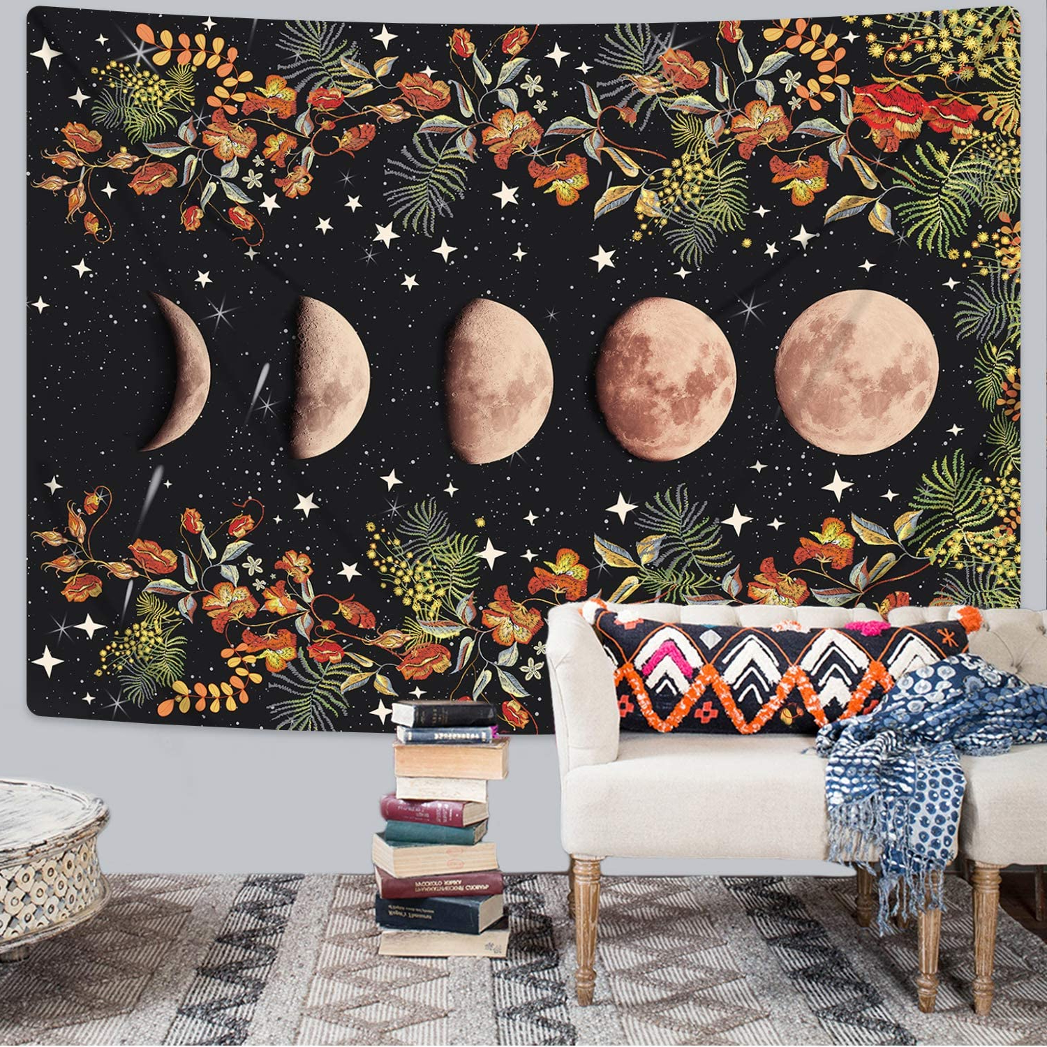 Famous Blended Fabric European Five English Horses Tapestries For Moonlit Garden Tapestry, Moon Phase Tapestries Flower Vine Tapestry Black Background Floral Tapestry Wall Hanging For Room(51.2 X (View 13 of 20)